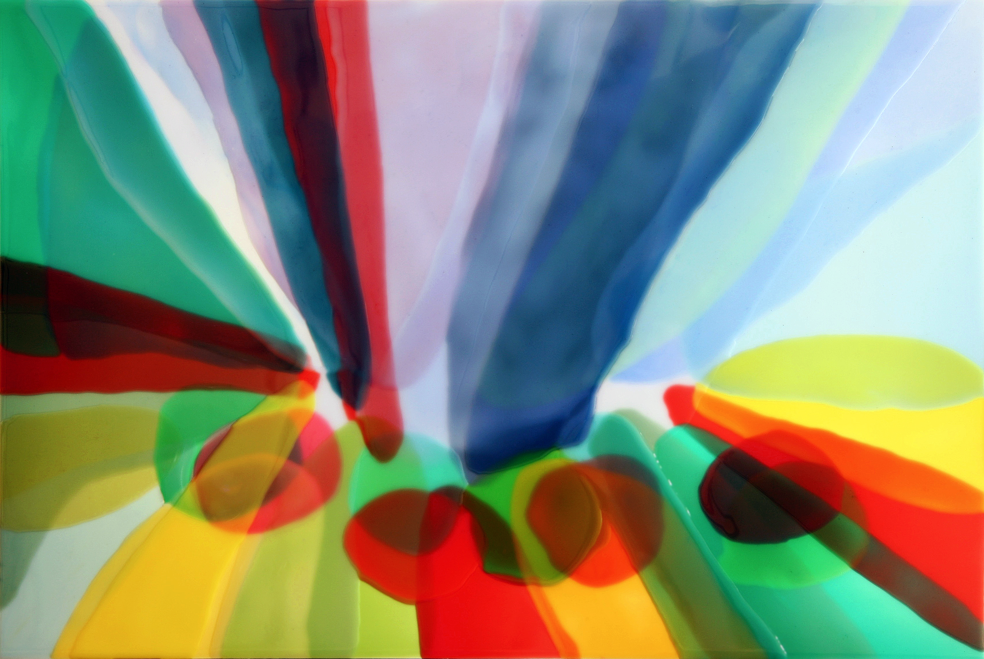 Blue and red painting by Farida Hughes