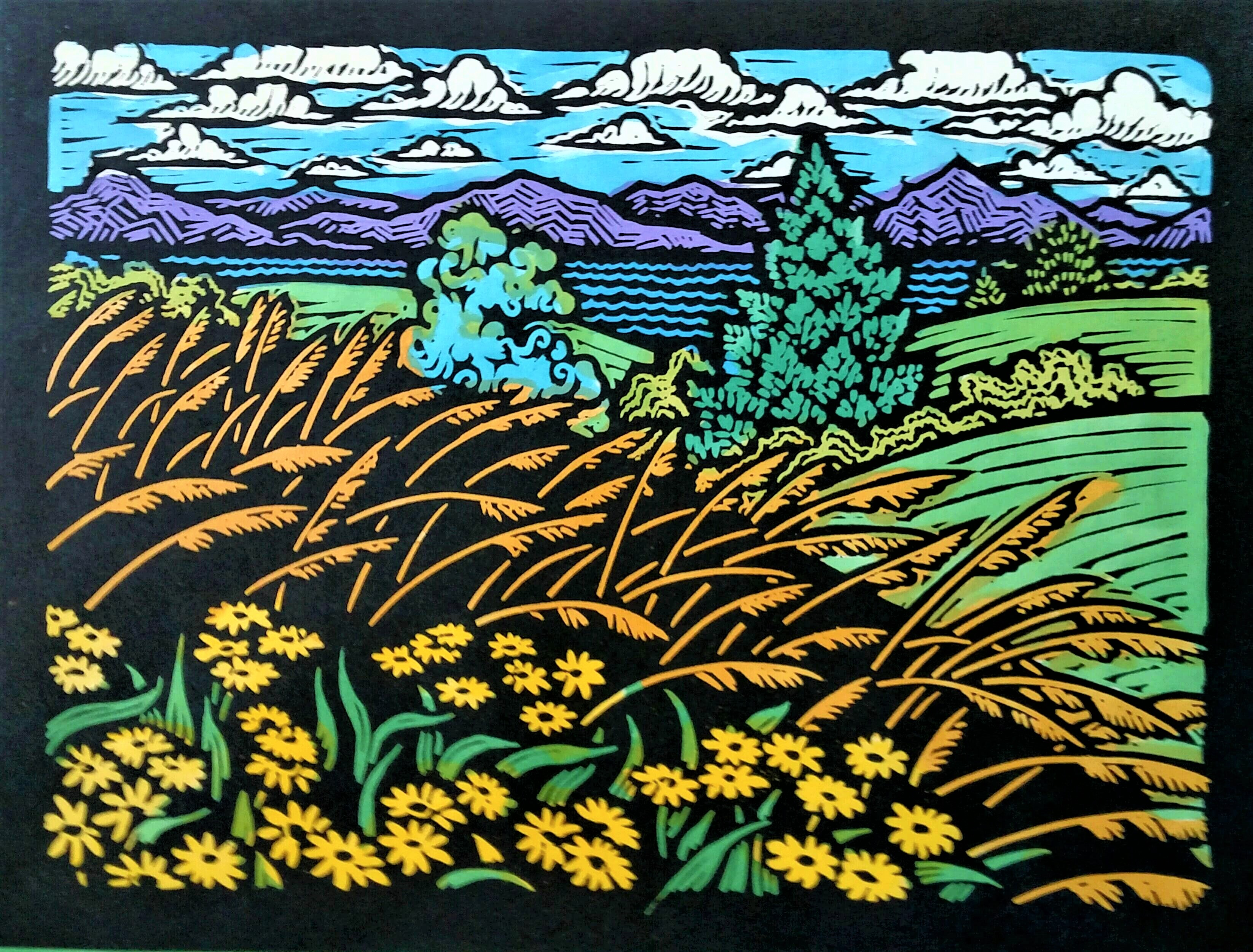"Beautiful Field I (Yellow Flowers) - 9"" x 12"" - Linoleum block print with water color on handmade Kozo paper"
