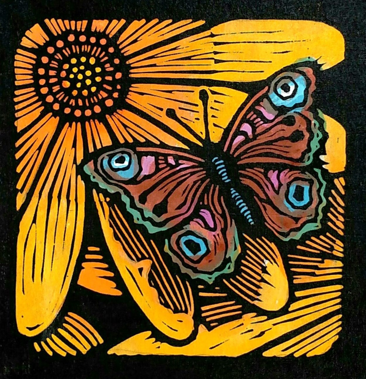 """Brown Moth on Gold Flower"" - Linoleum block print and water color on Kozo paper - 6"" x 6"""