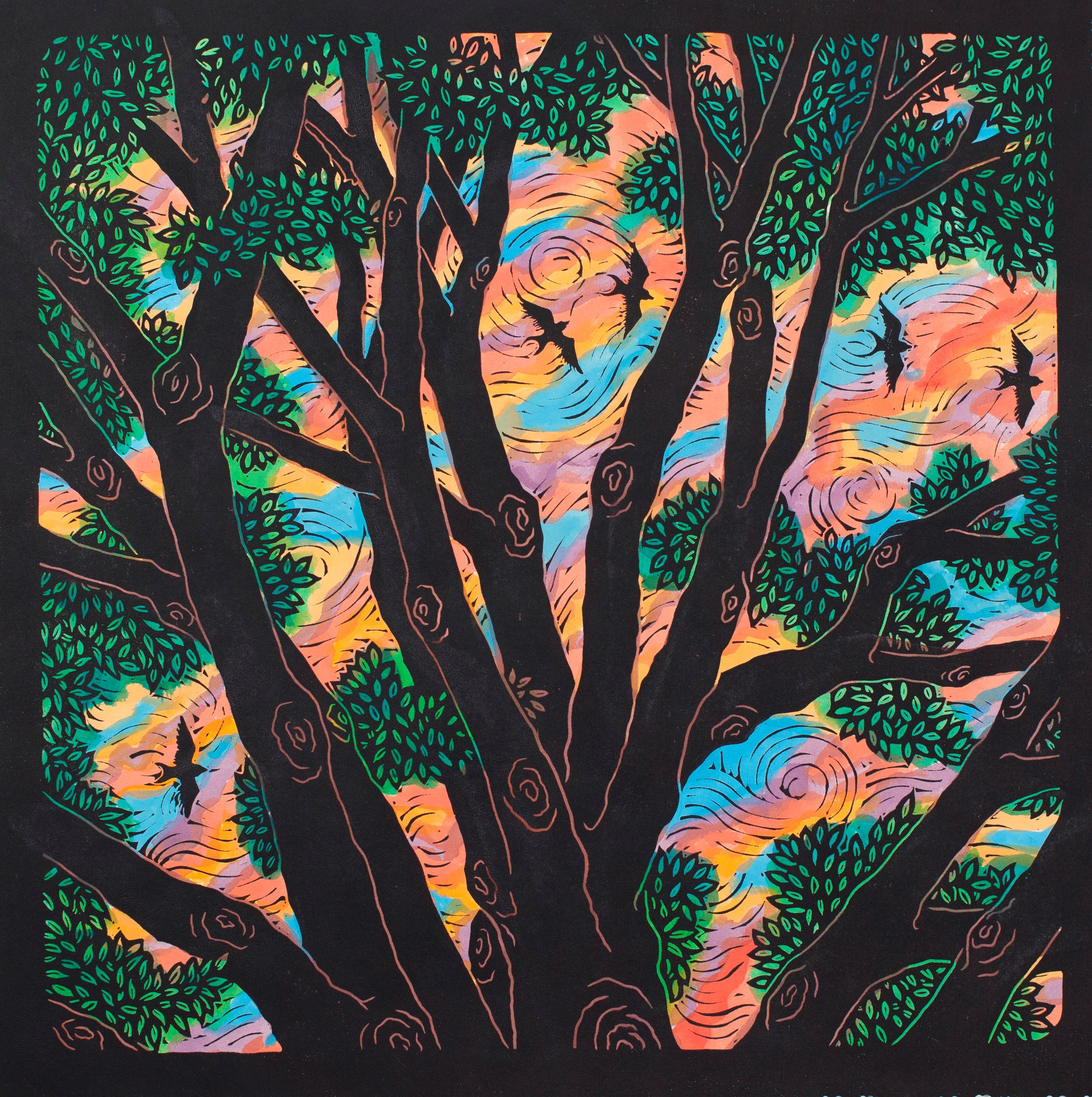 """Forest Canopy -  18"""" x 18"""" - Linoleum block print with water color on handmade Kozo paper"""