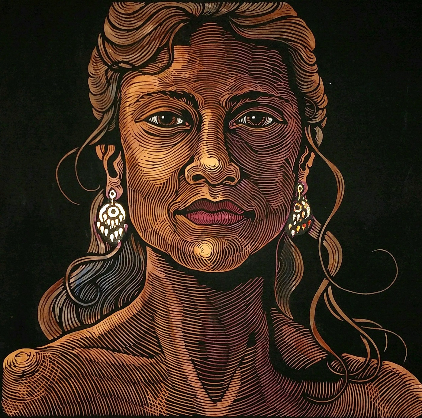"""""""One World - Woman with Gold Earrings""""- 24"""" x 24"""" - Linoleum block print with watercolor and gold leaf on handmade Kozo paper. #anitahaganoneworld"""