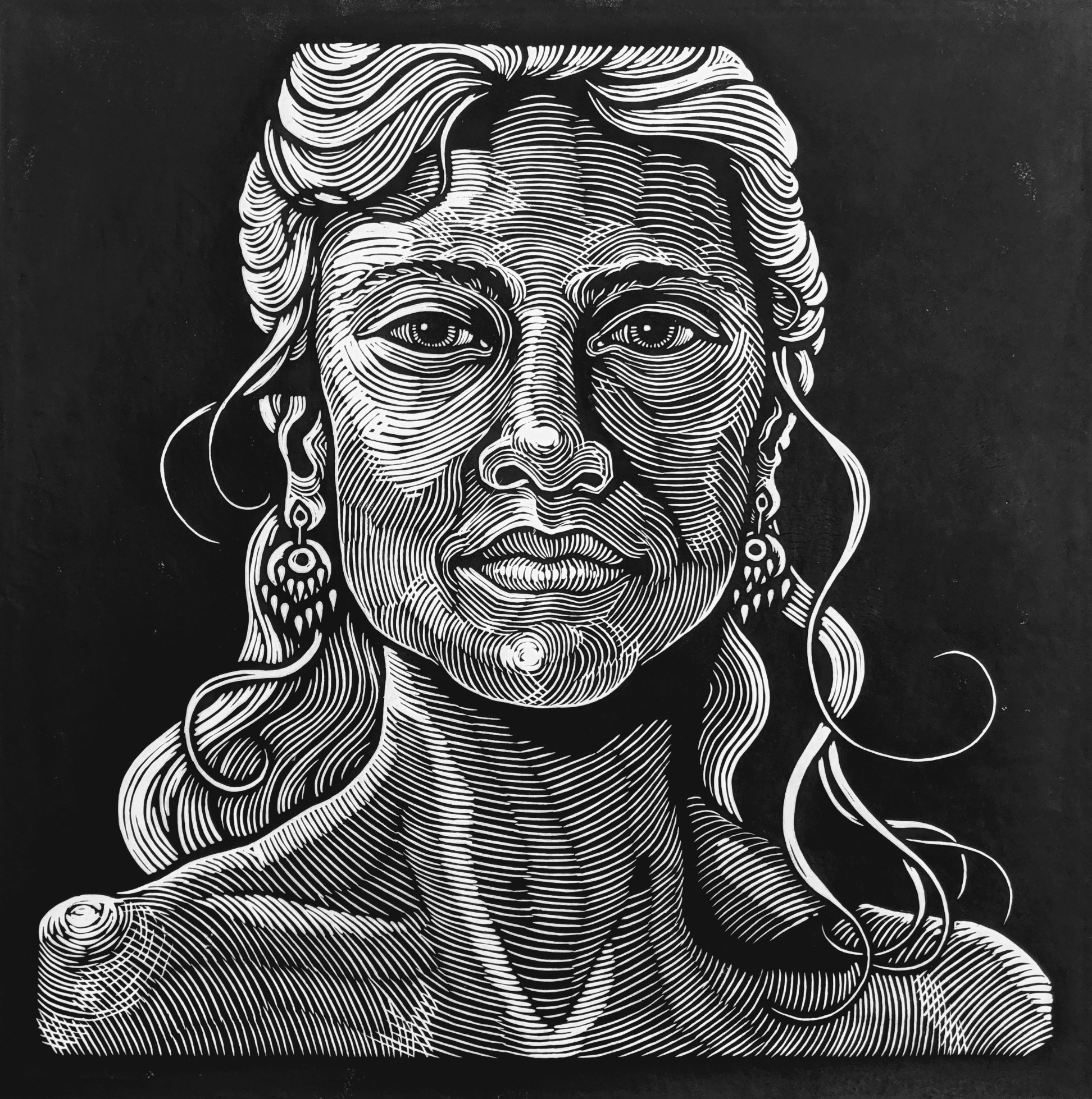 Step #7 - One World - Woman with Gold Earrings - Final black and white print