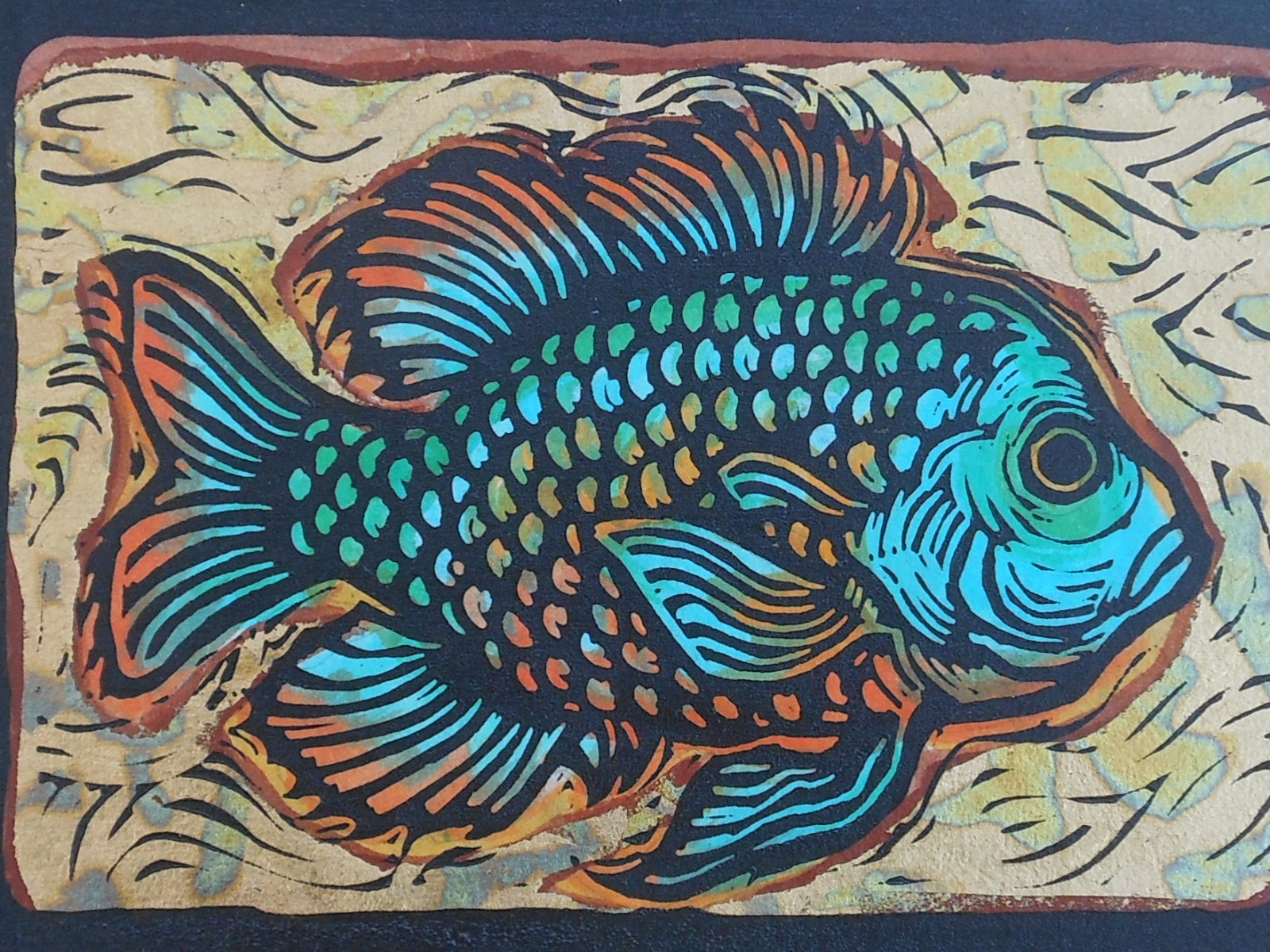 """Sunfish"" - Linoleum block print and water color and gold leaf on Kozo paper - 6"" x 9"""
