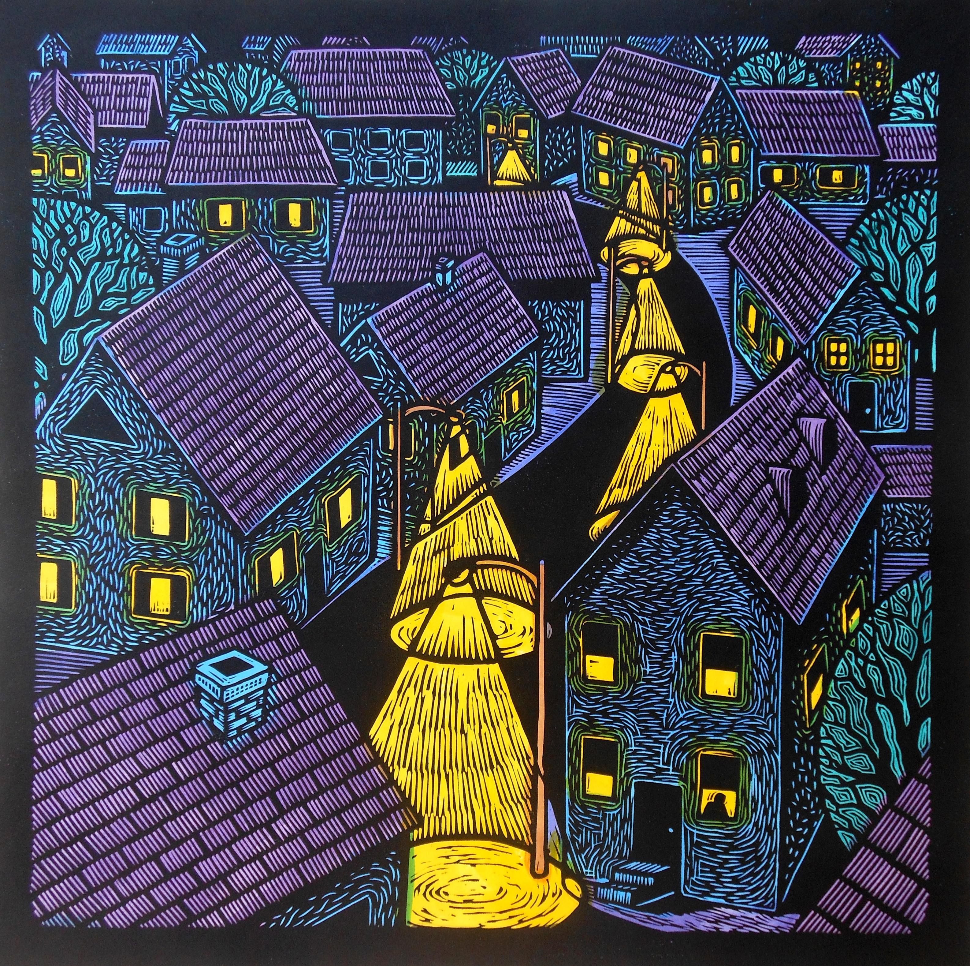 """The Black Road"" - 18"" x 18"" -  Linoleum block print with water color on handmade Kozo paper"