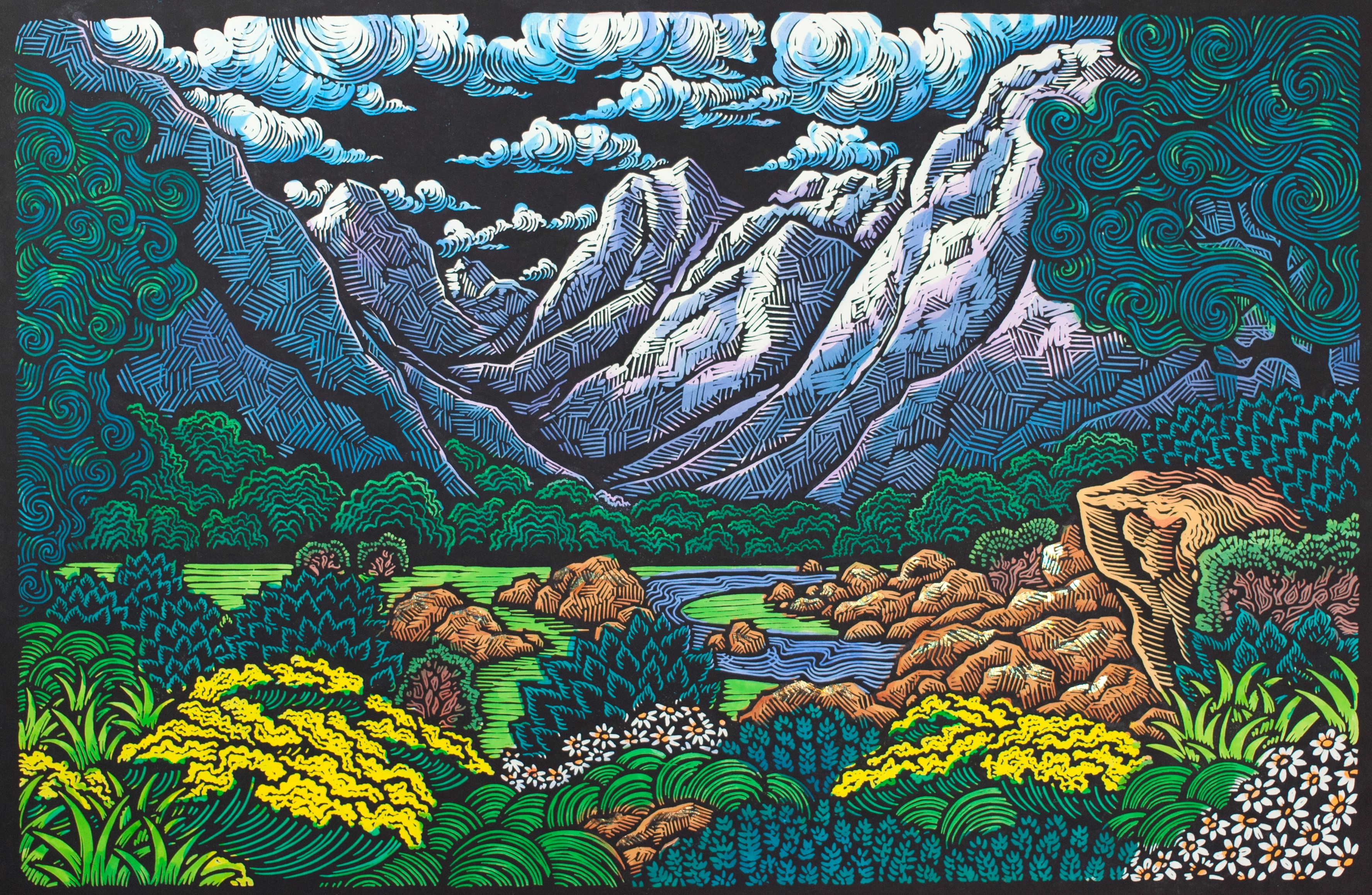 """The Journey Home"" - 24"" x 36"" - Linoleum block print with water color on handmade Kozo paper"