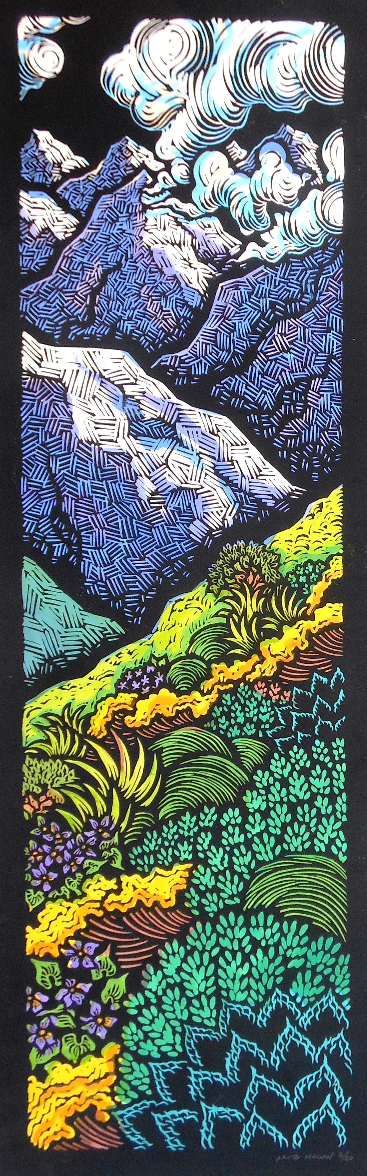 """""""The Road Less Traveled I""""- 8"""" x 30""""- Linoleum block print with watercolor and gold leaf on handmade Kozo paper."""