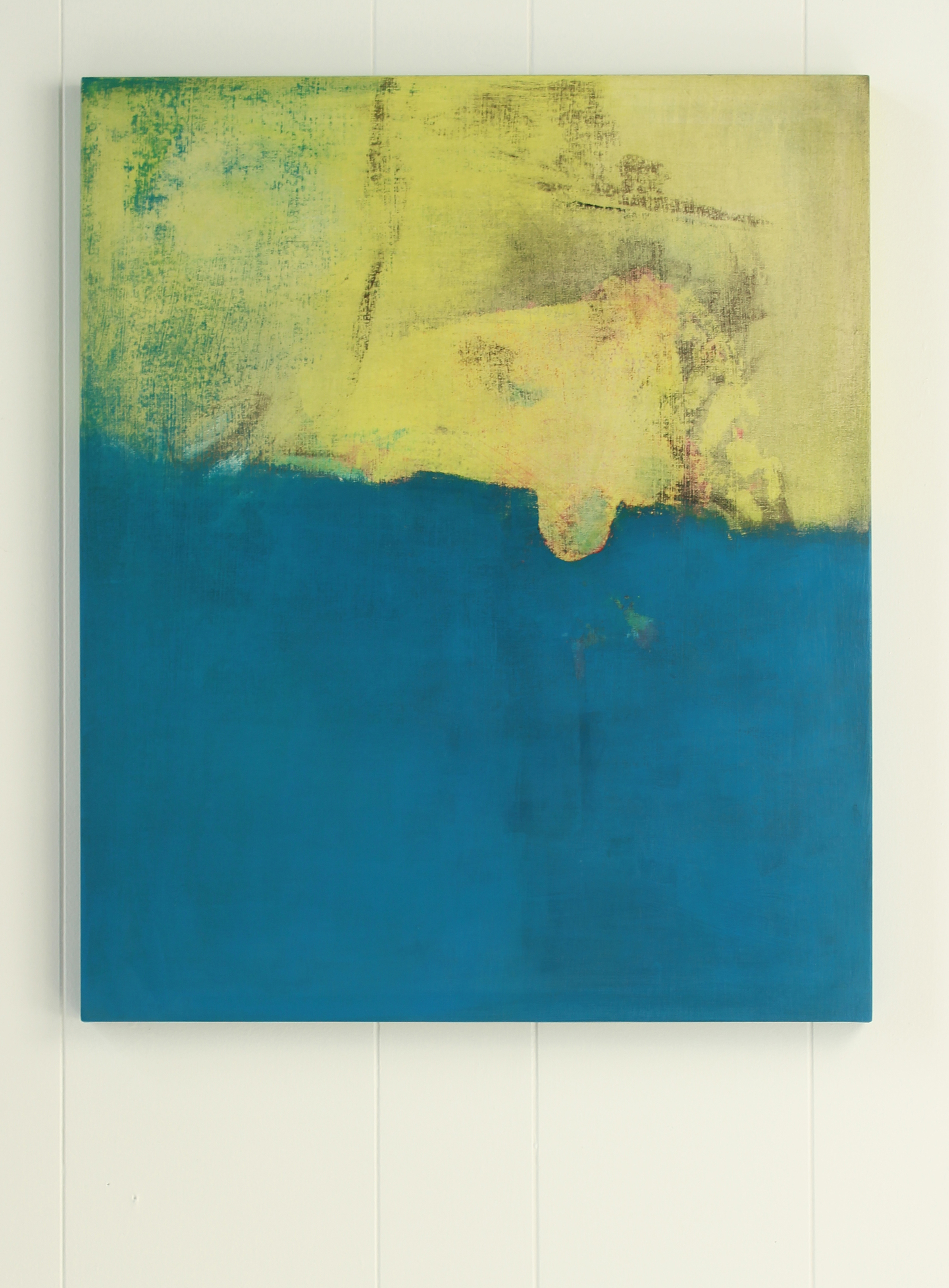 abstract painting (acrylic and gesso on muslin covered board) with dominant colours in blue and yellow