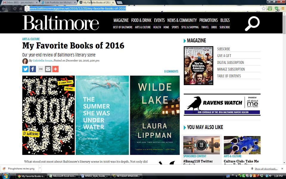 Favorite Books of 2016, Baltimore Magazine