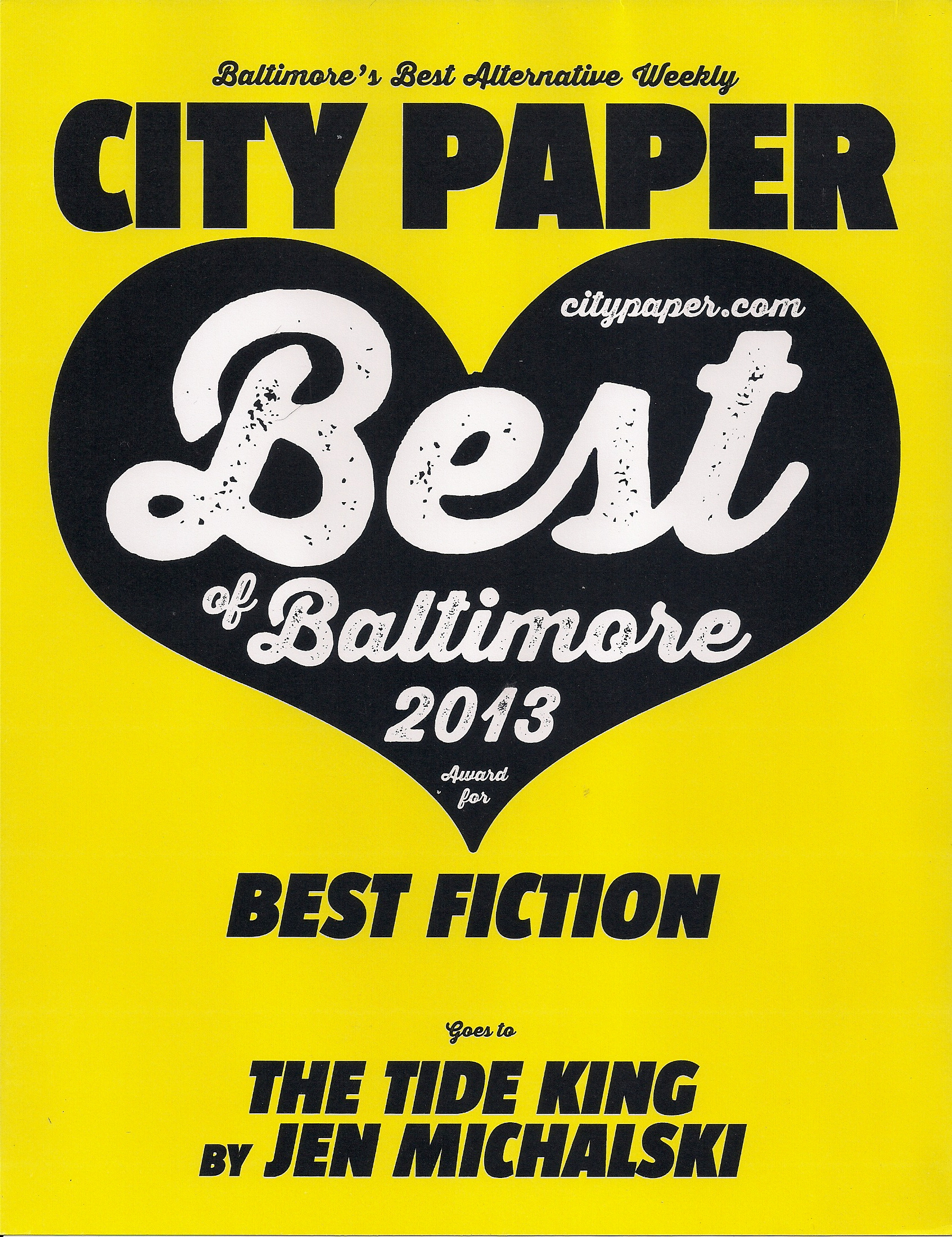 """Best Fiction,"" Best of Baltimore, City Paper 2013"