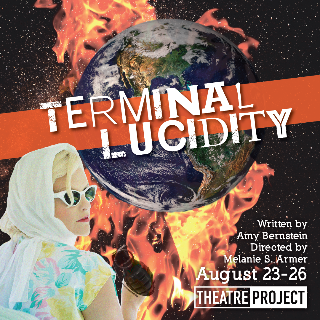 """Poster for """"Terminal Lucidity"""" shows a woman and flames."""