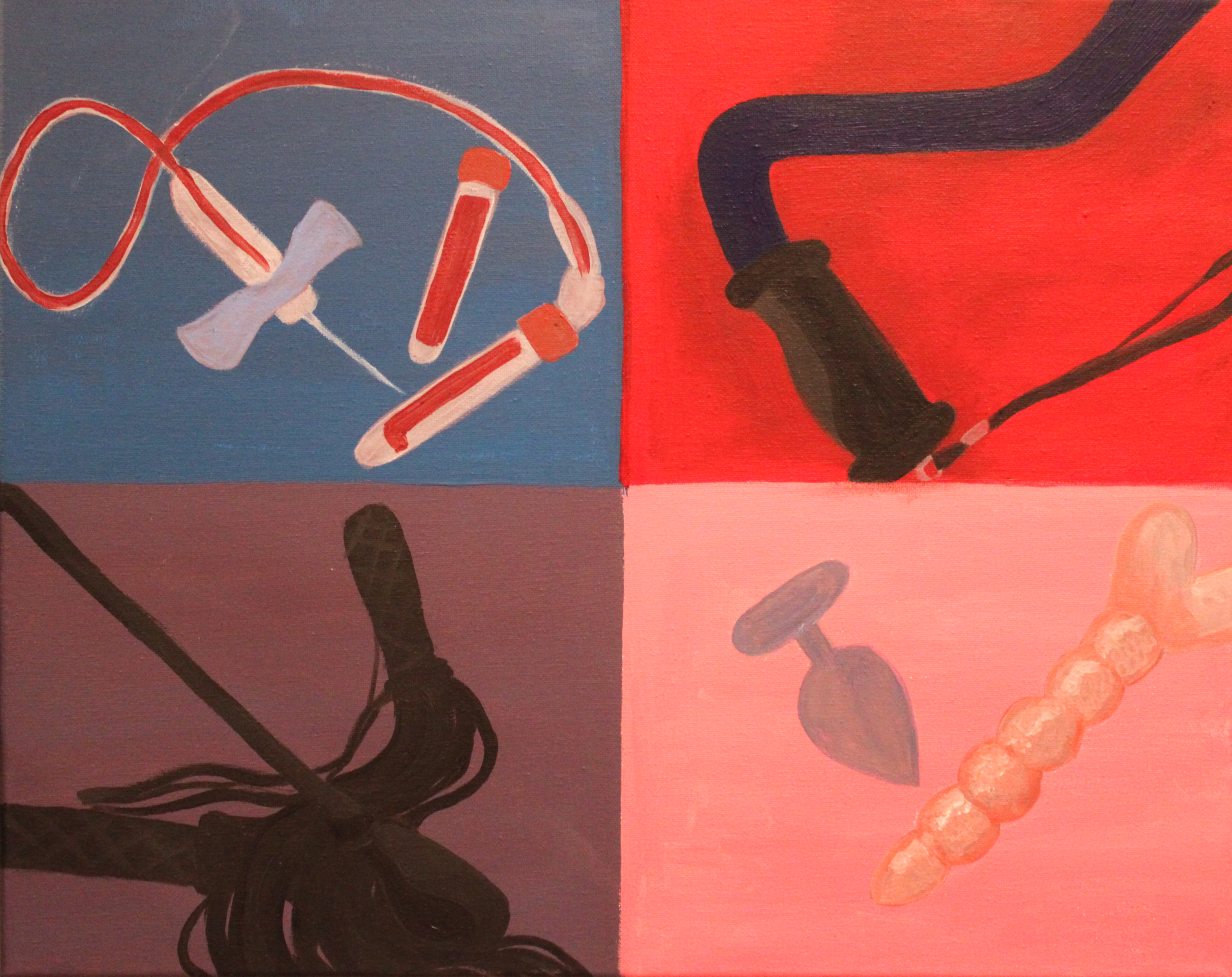 Acrylic painting of four panels, each with an object that relates to disability or BDSM painted on top.