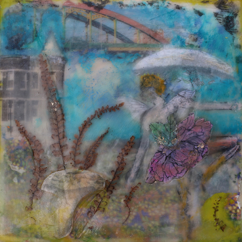 howards,street,bridge,encaustic,mushroom,fairy,fantasy