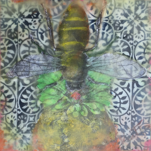 pineapple,pollination,moment,memory,portrait,stilllife,bee,encaustic