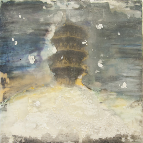 snowstorm,snow,pattersonpark,pagoda,winter,pagodainwinter,pattersonparkpagoda,sledding,encaustic,landscape