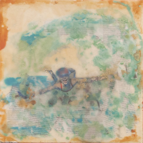 childhood,summer,portrait,seascape,wave,sea,encaustic