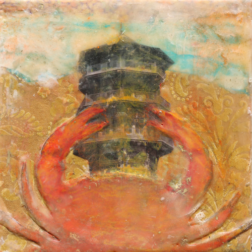 crab,pagoda,pattersonpark,softshellcrab,encaustic,landscape