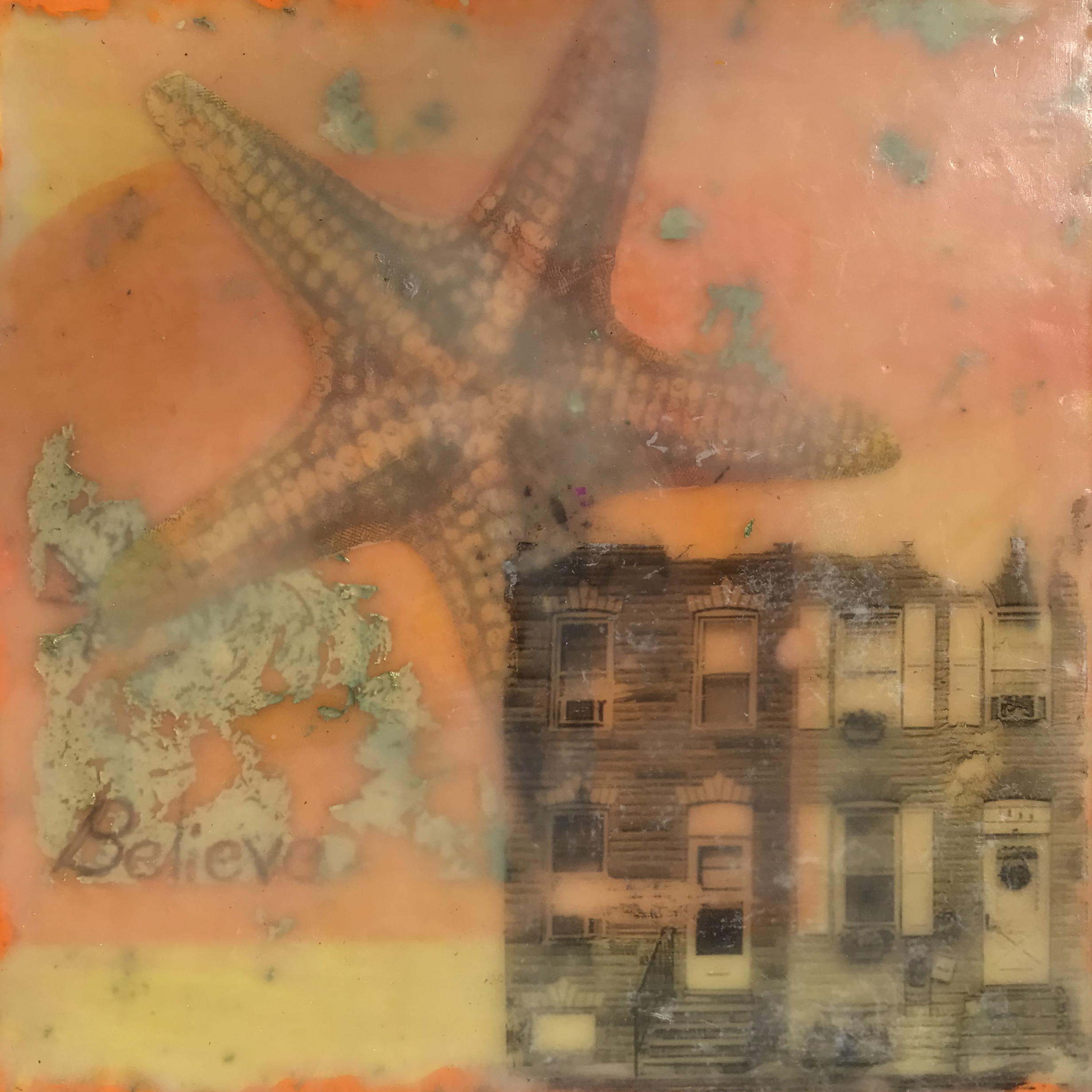 rowhome,seastar,cityscape,surreal,encaustic