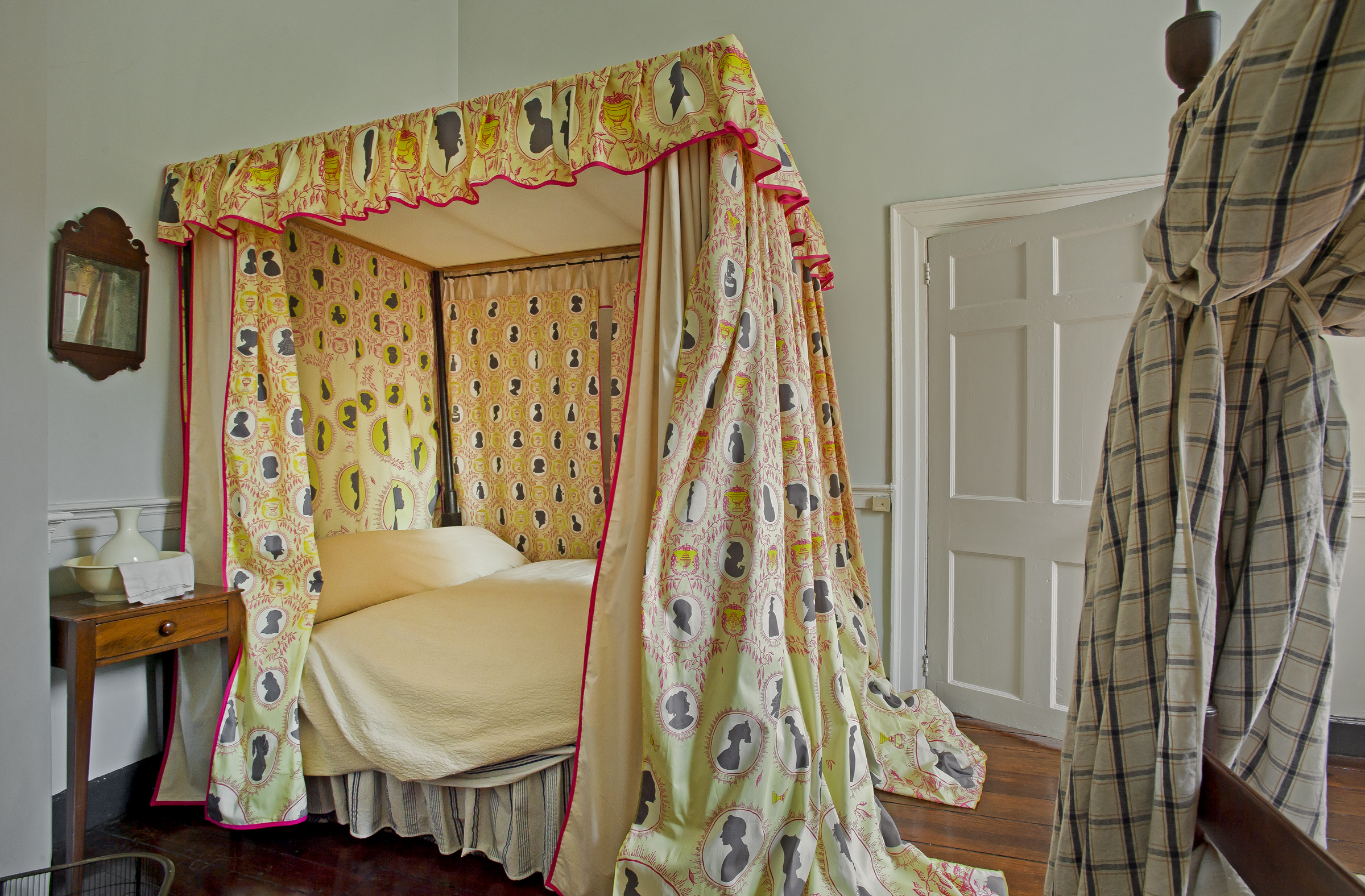 Not on View  Custom designed textile on historic canopy bed . Silhouettes derrived from unnamed historical women's images