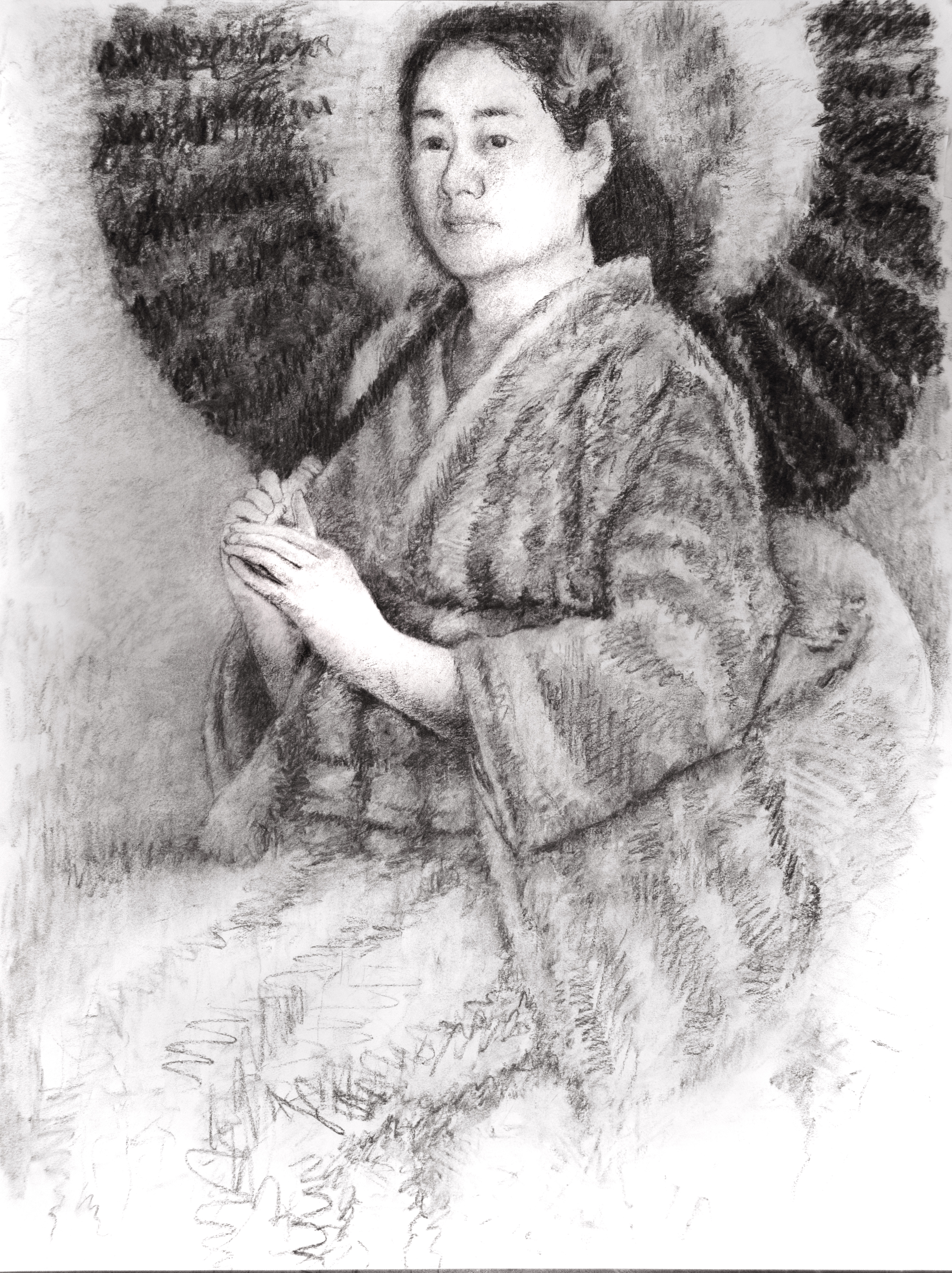"Japanese woman in a kimono, 18""x24"" charcoal."