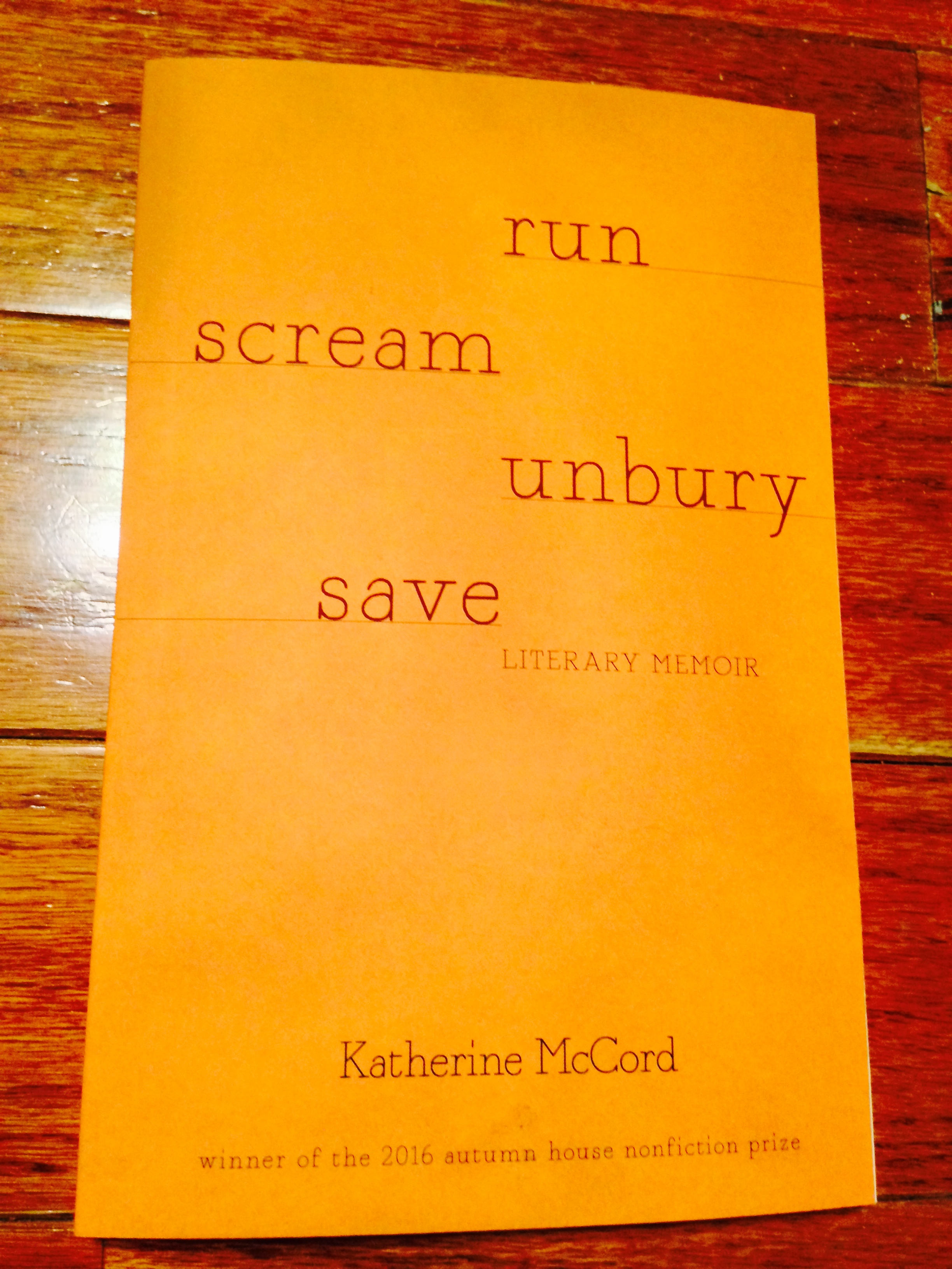 This is a picture of a copy of RUN SCREAM UNBURY SAVE that will be out February 1, 2017