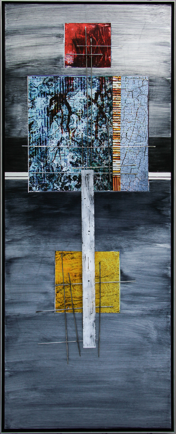 Ancient Message -  Image transfer and pigments on aluminum with sculptural steel and polycarbonate structure   19 x 54