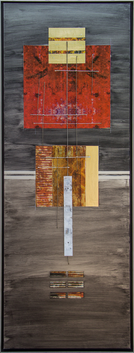 Between Heaven and Earth -  Image transfer and pigments on aluminum with sculptural steel and polycarbonate structure   19 x 54