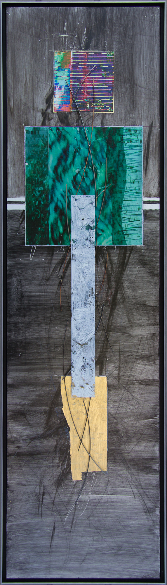Water Message 48 x 13, Image transfer and pigments on aluminum with sculptural steel and polycarbonate structure.