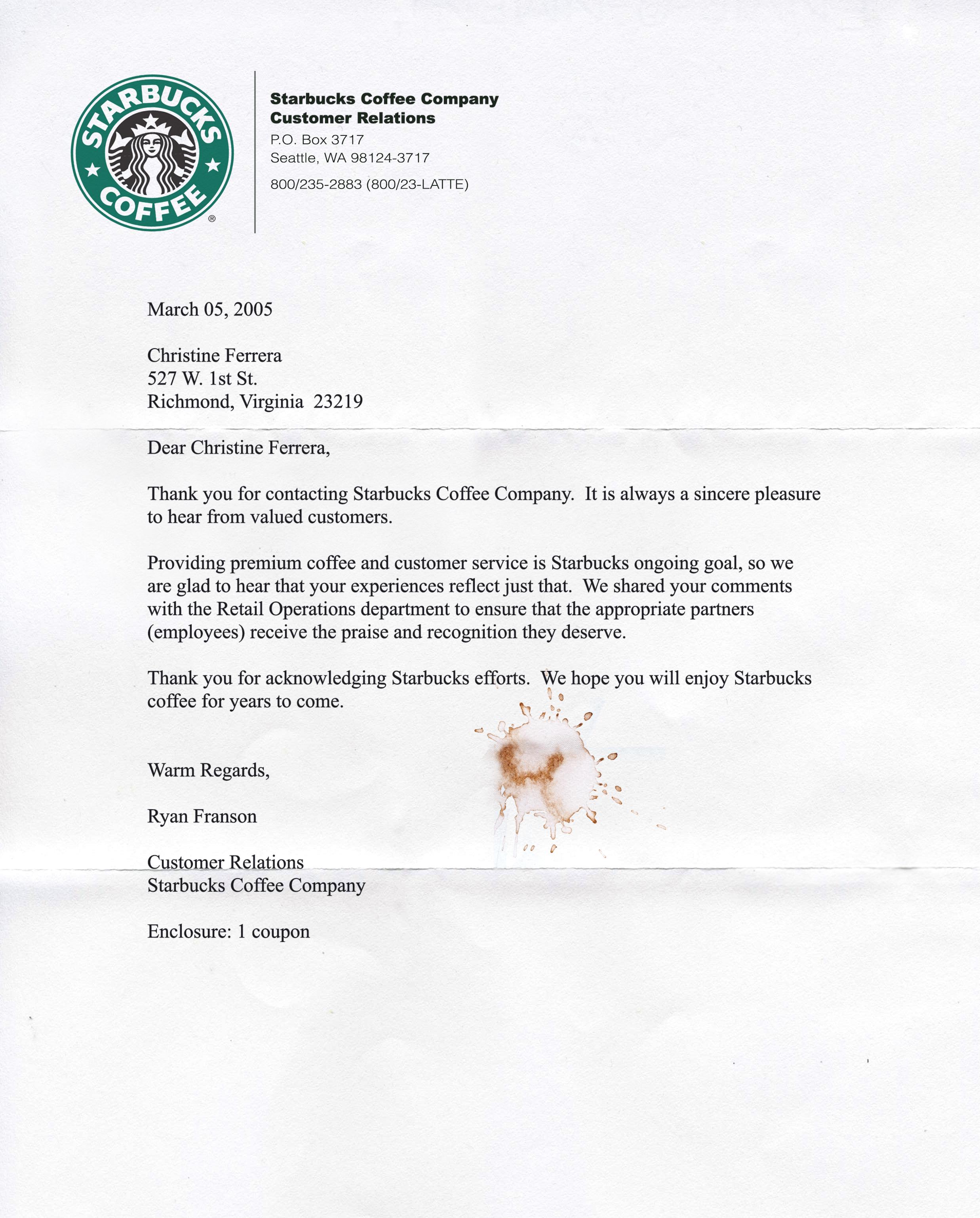 Cover Letter Starbucks: Baker Artist Portfolio