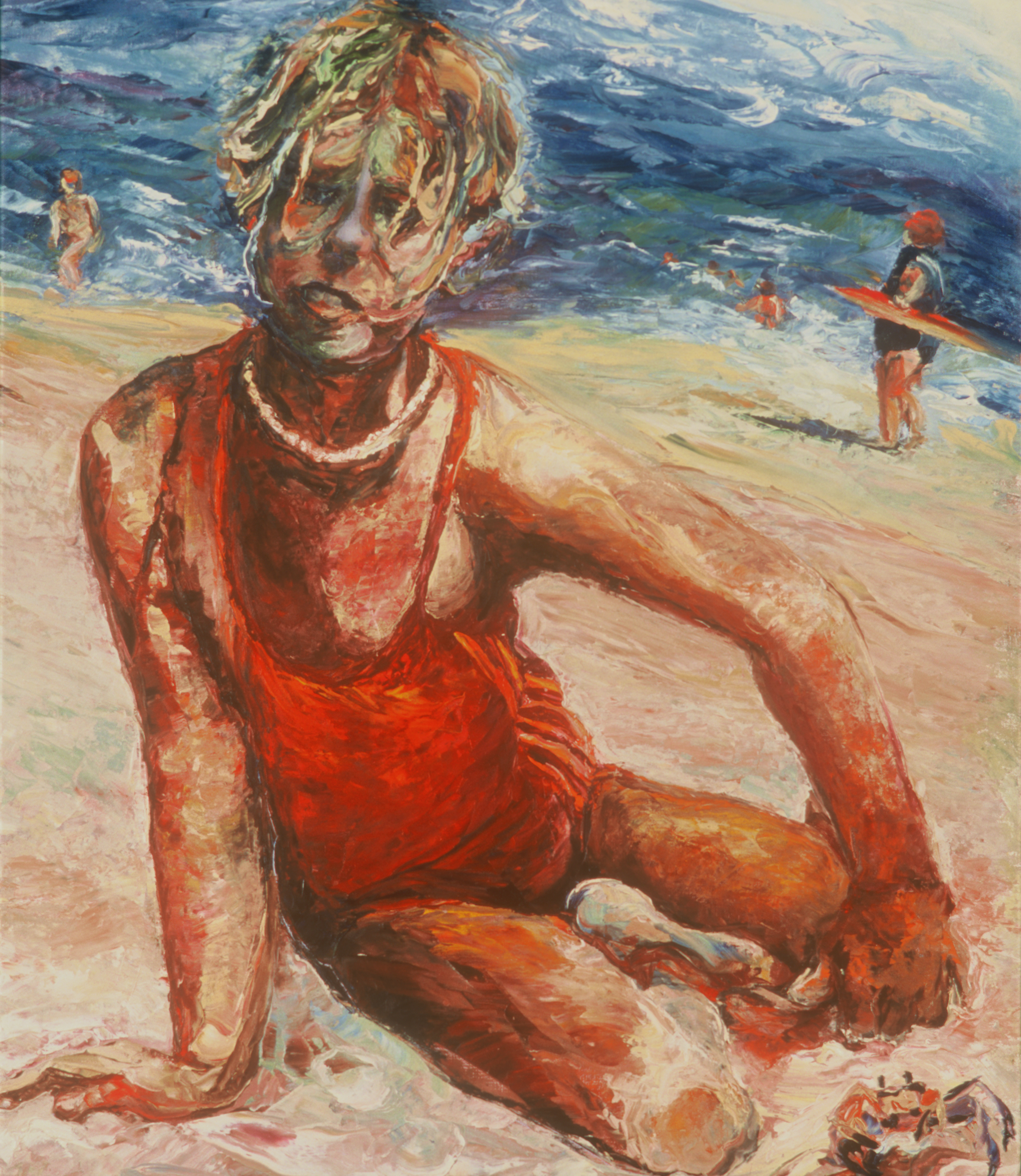psychological portrait, child, impasto, summer beach