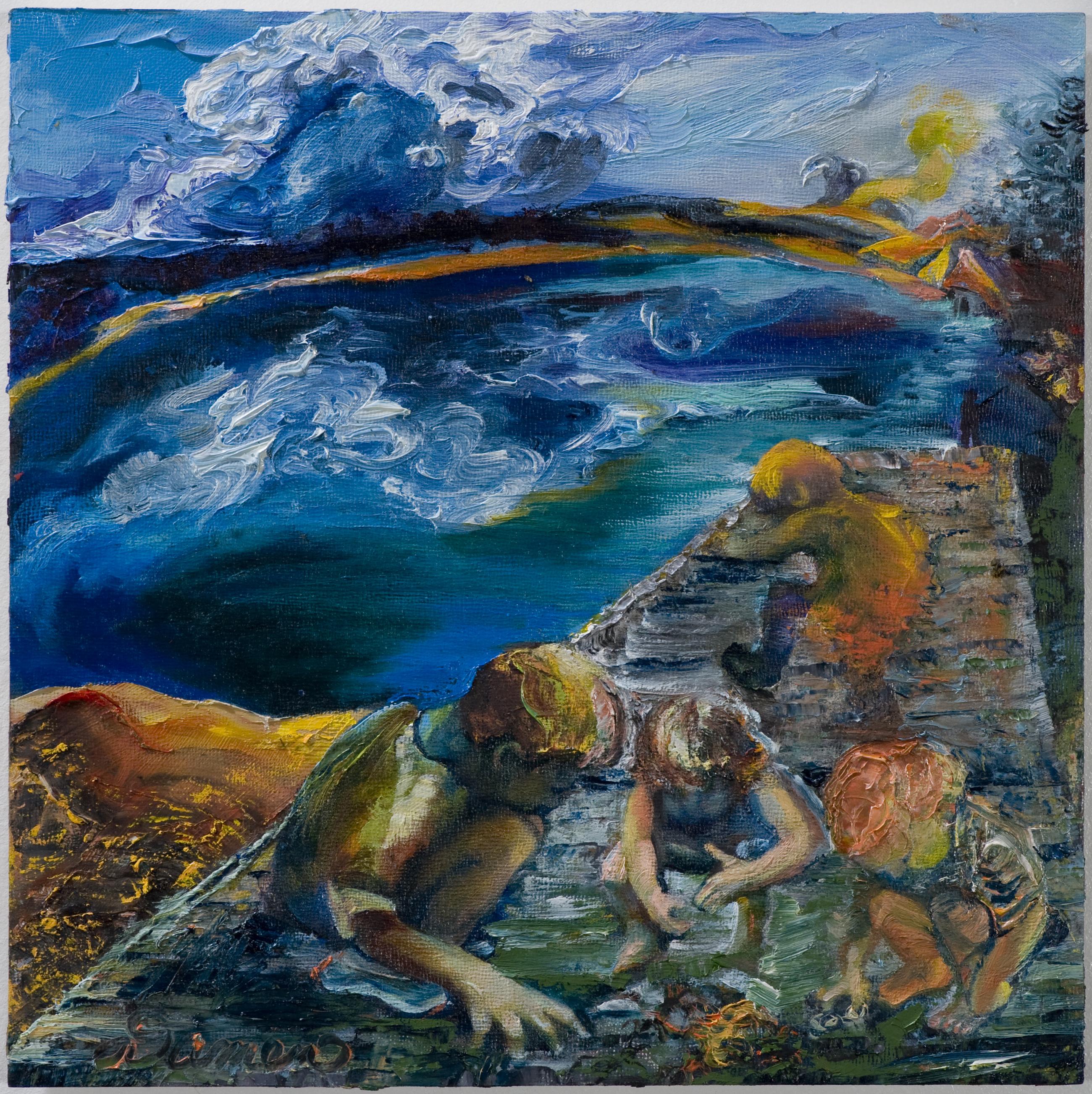 responsive painting to poem, memory, ants, teaching