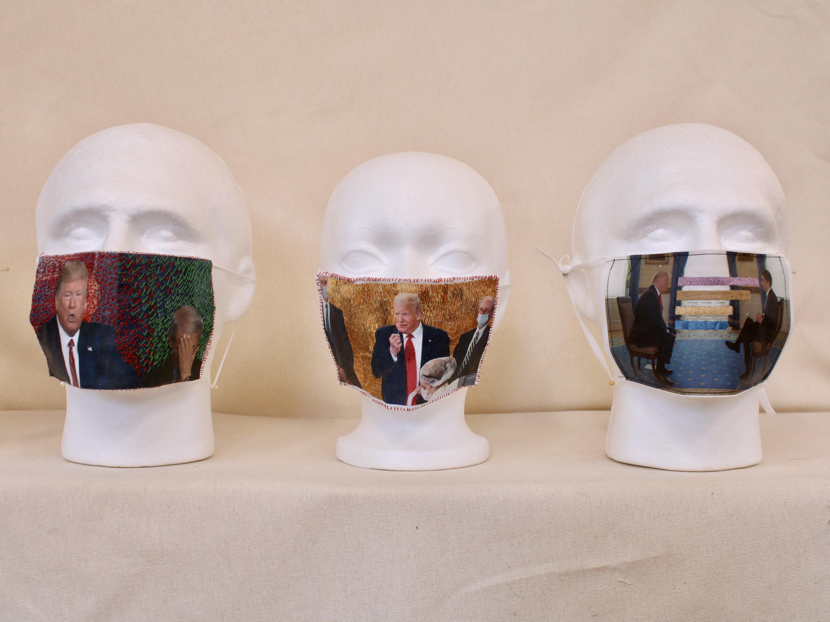 thread painting, thread drawing,COVID masks, Political art