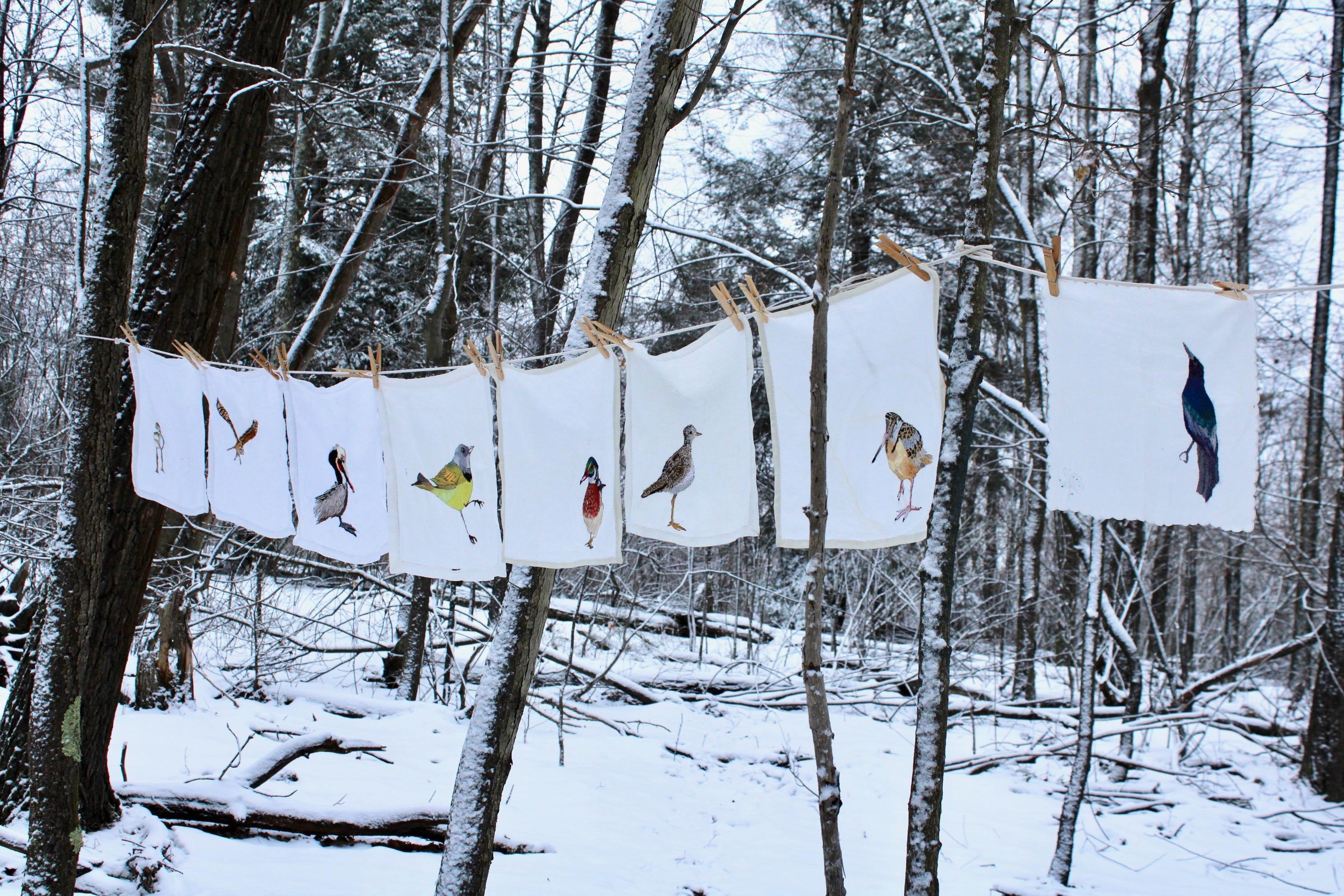 Hand  Embroidered birds on vintage linen napkins