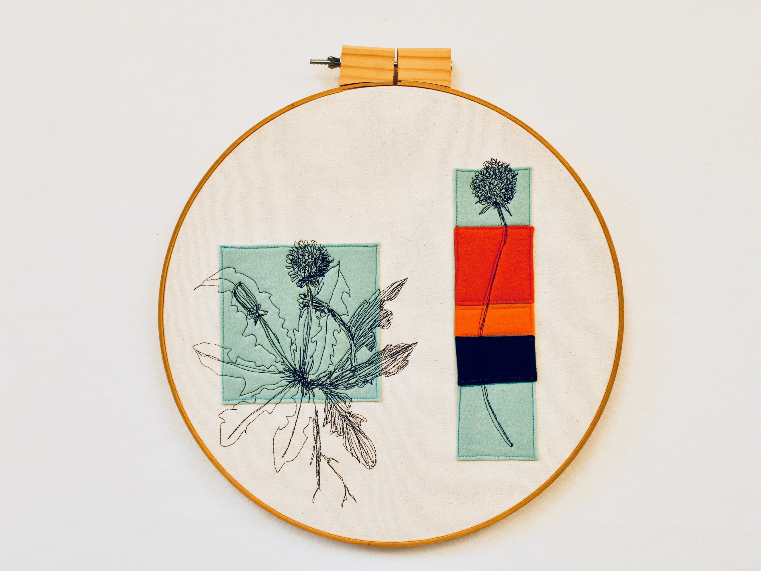 Freehand machined embroidered, clover, dandelion, felt applique, felt, illustration, edible plants, pillow, canvas,