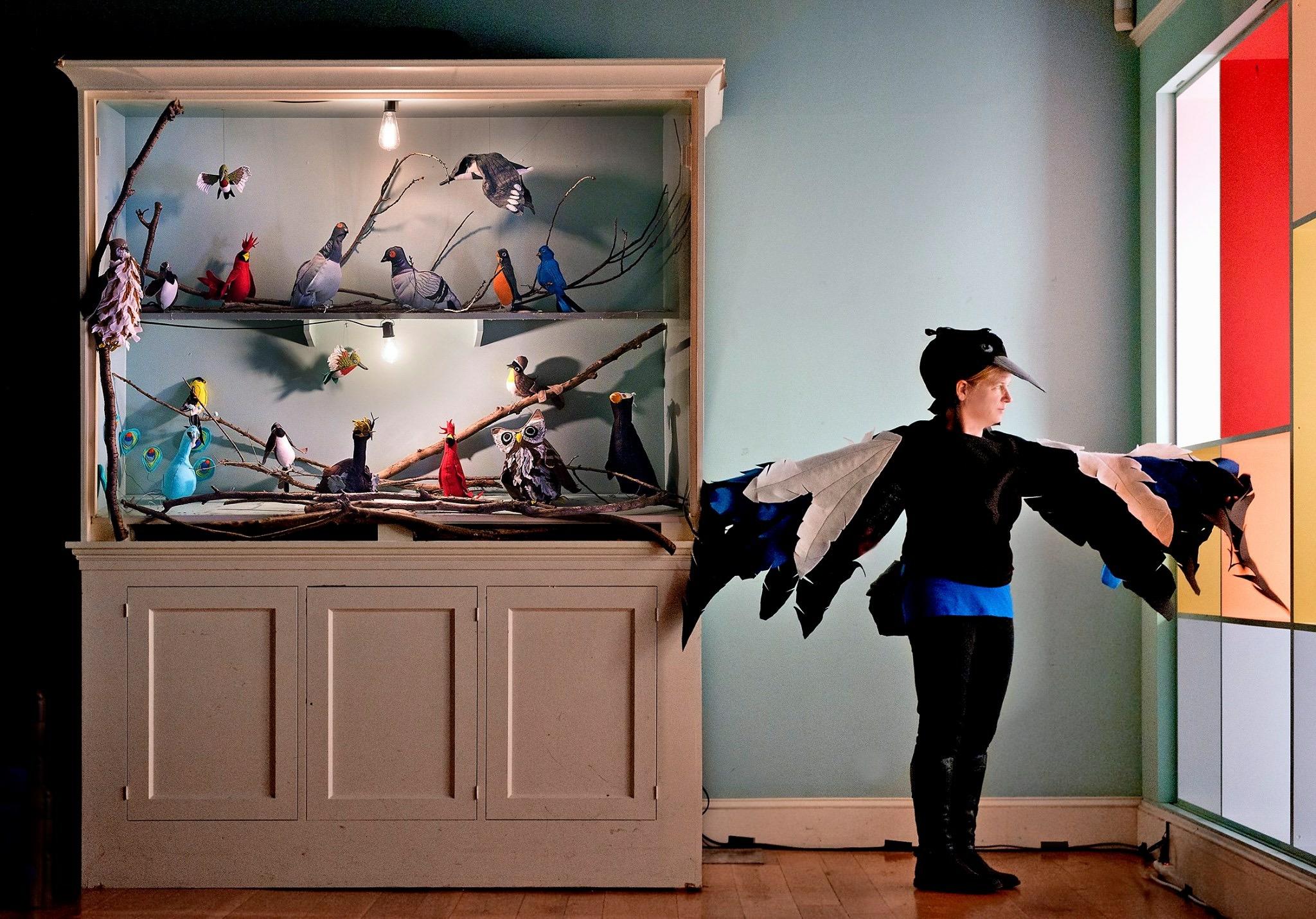 fiberart, birds, soft sculpture , environmental art