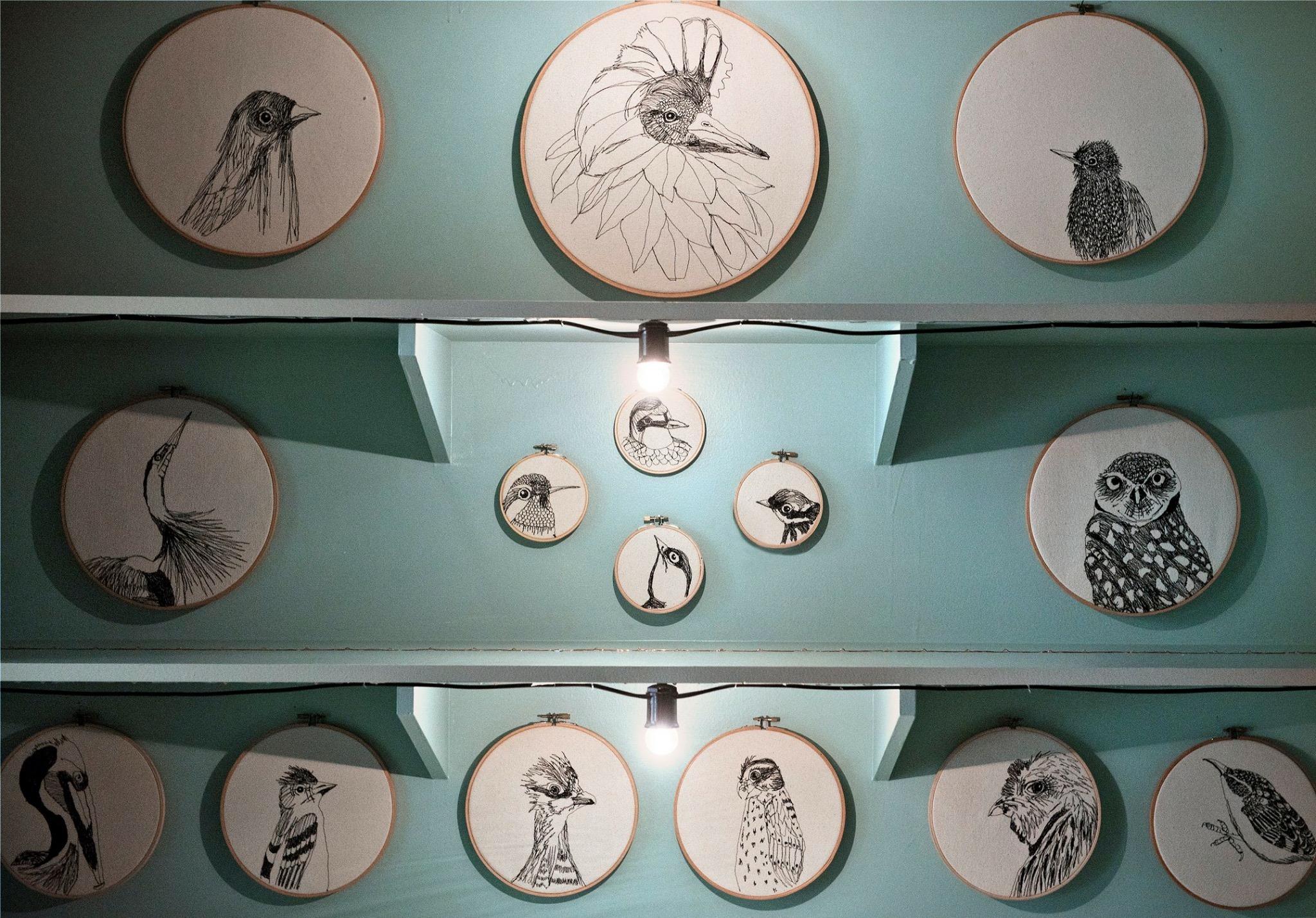 fiber art,  freehand machine embroidery, art installation. climate change, birds