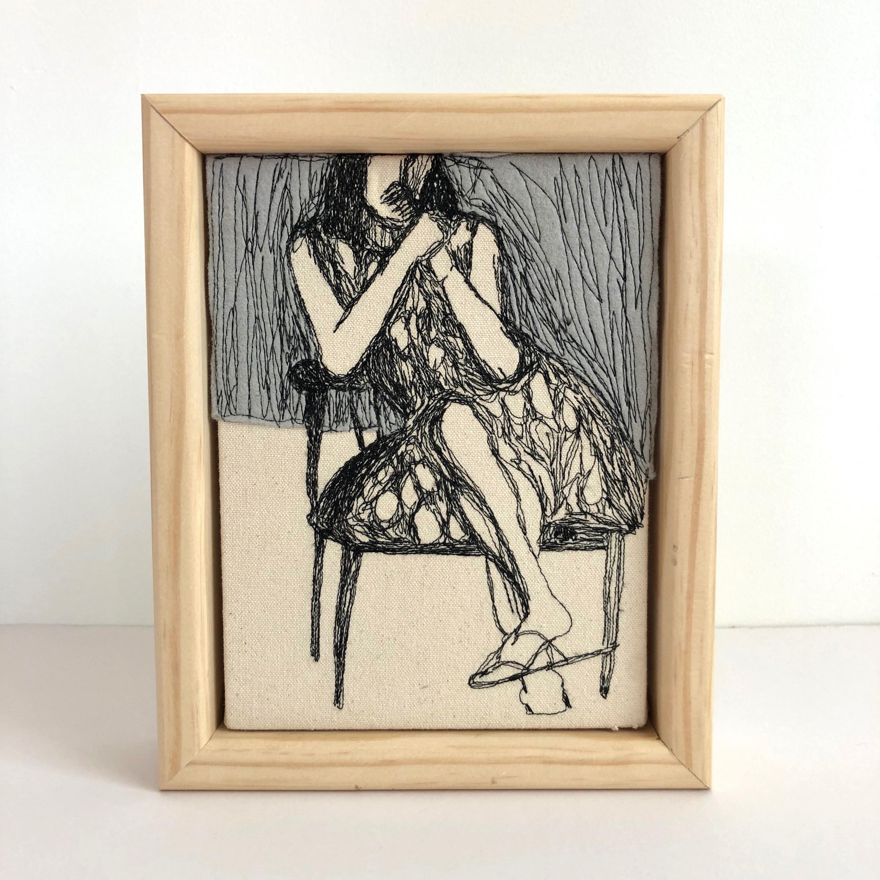 freehand machine stitching, thread drawing, figure, Deibenkorn