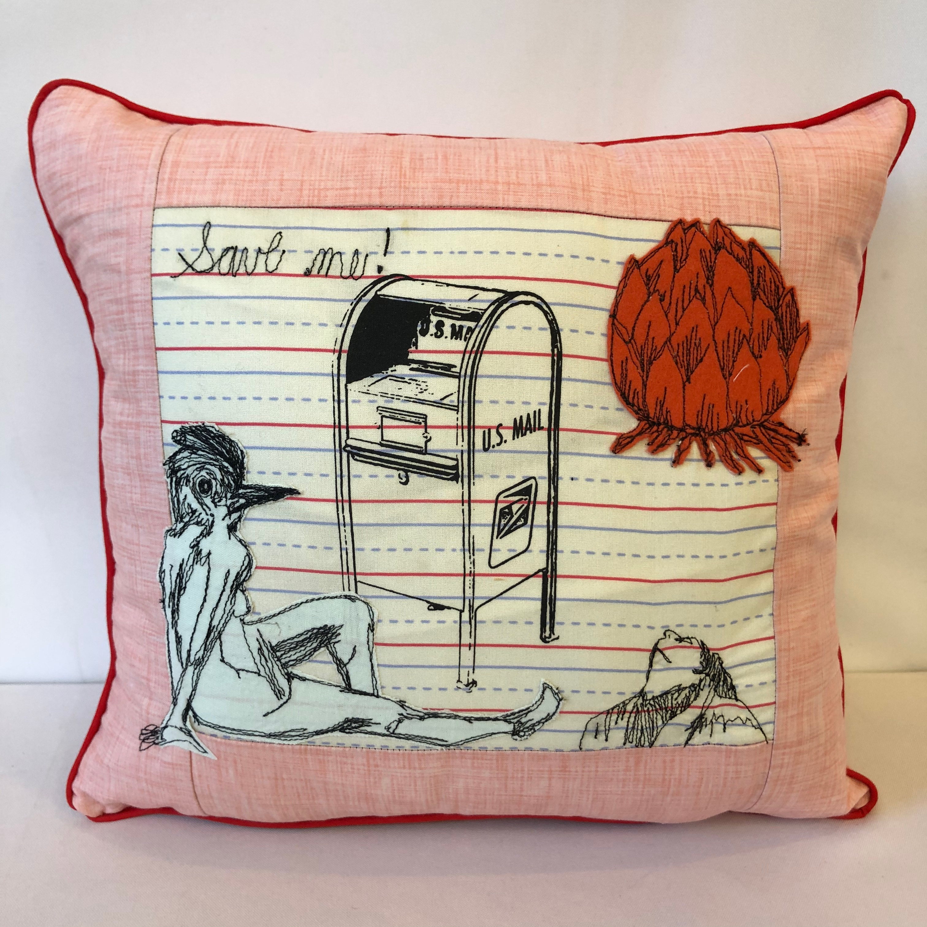 fiberart, decor pillow, freehand machine stitched, felt appliqué