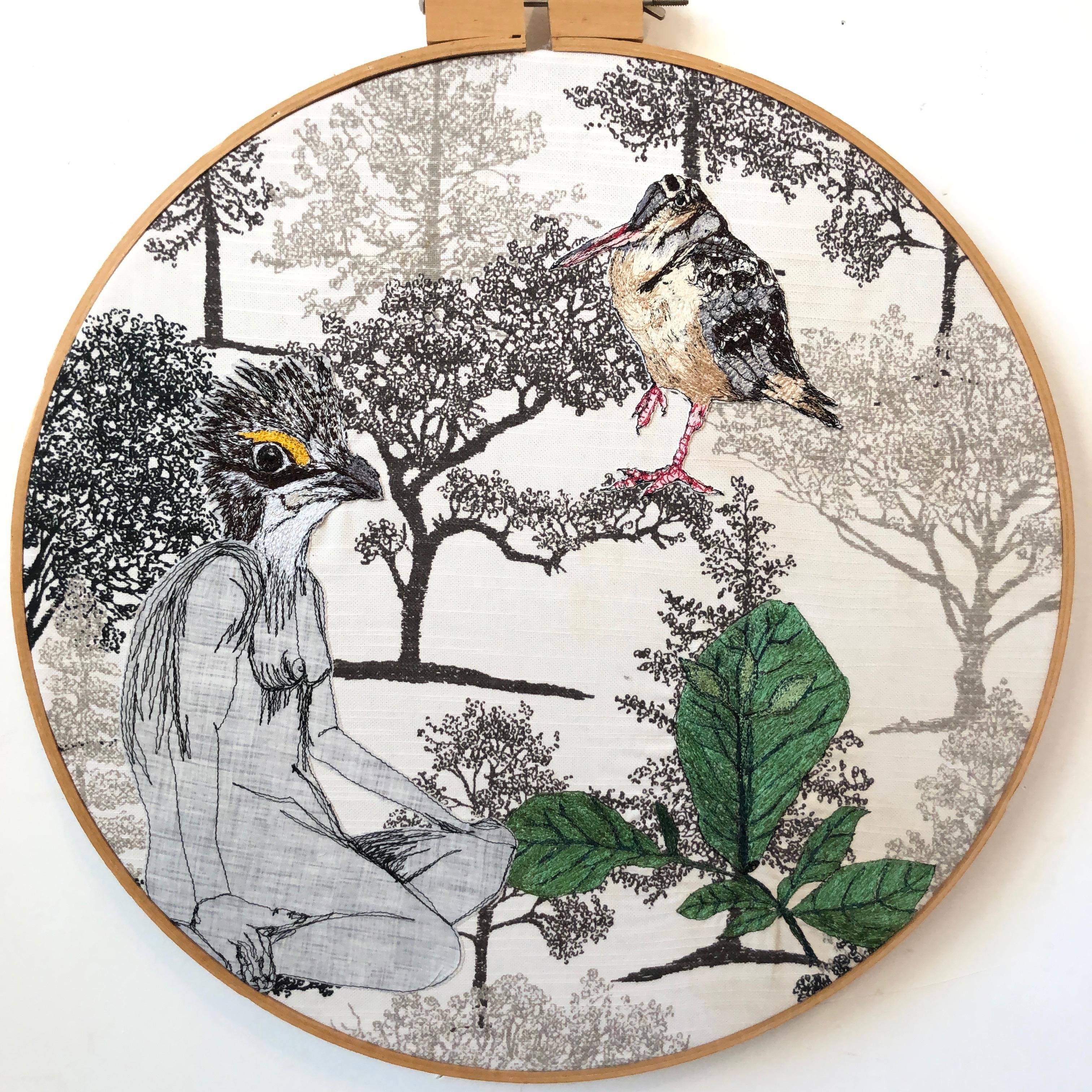 fiberart, thread drawing, figure, bird headed women, woodcock. birds