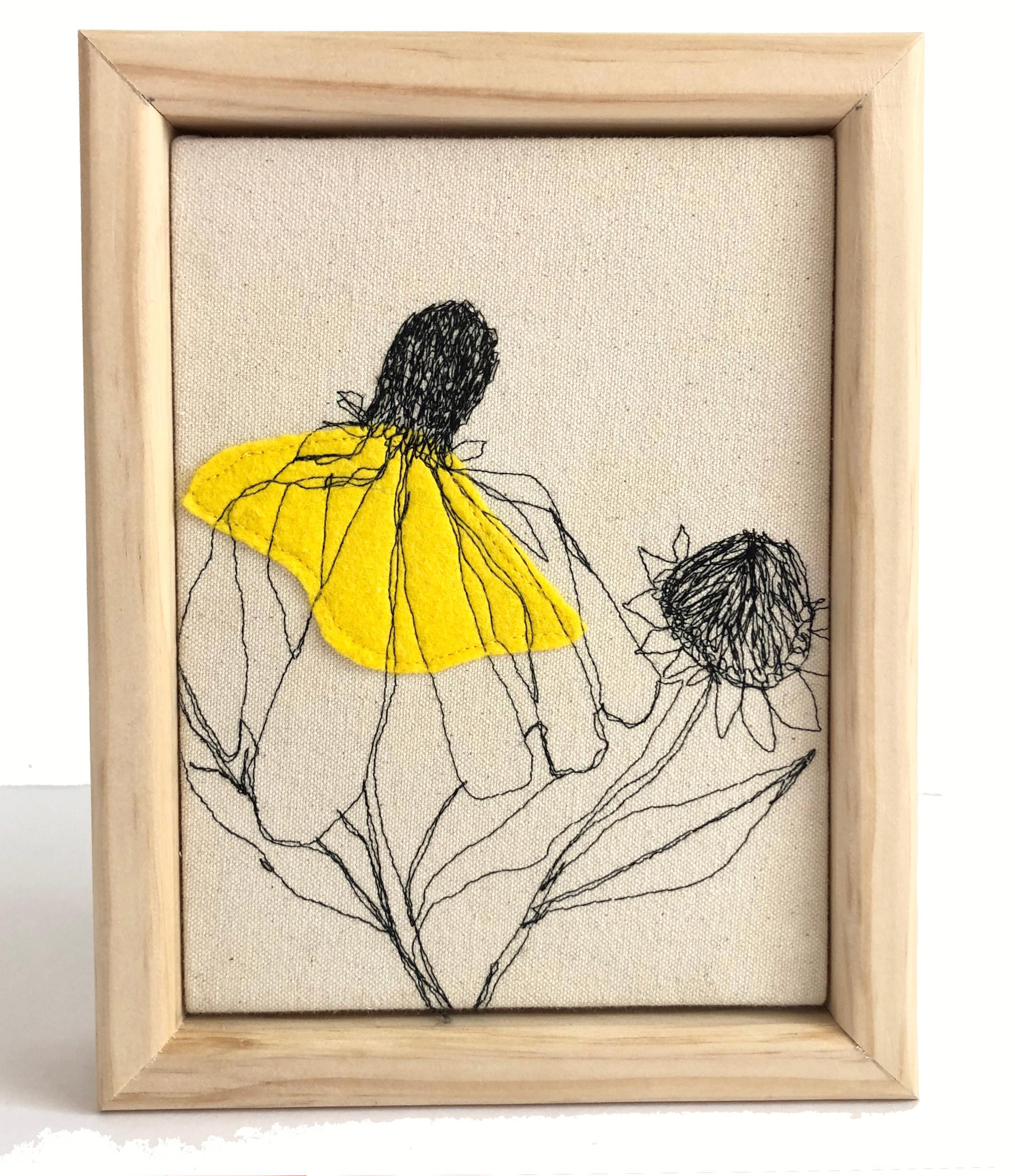 fiberart, thread drawing, nature, plants