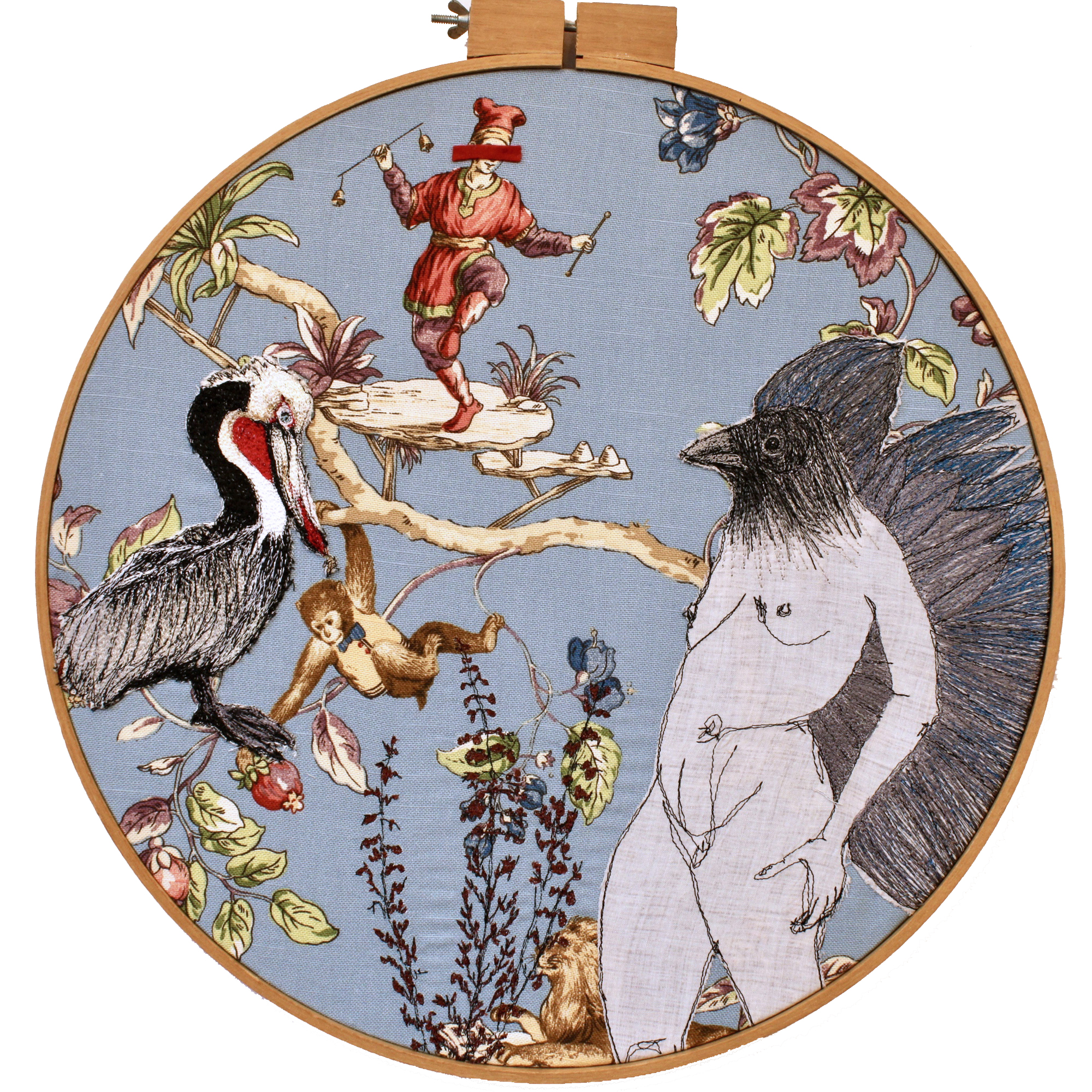 fiber art, bird women, Freehand machine stitch, thread drawing. thread painting