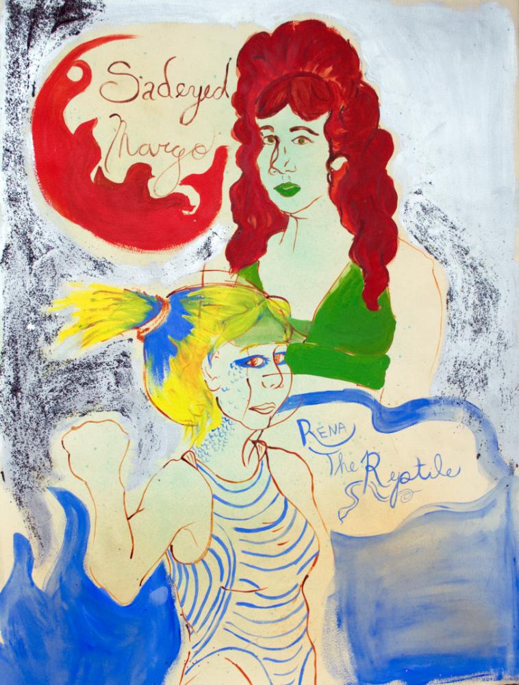 lady, ladies wrestling, Sarah Magida, art, painting, work on paper, baltimore artist