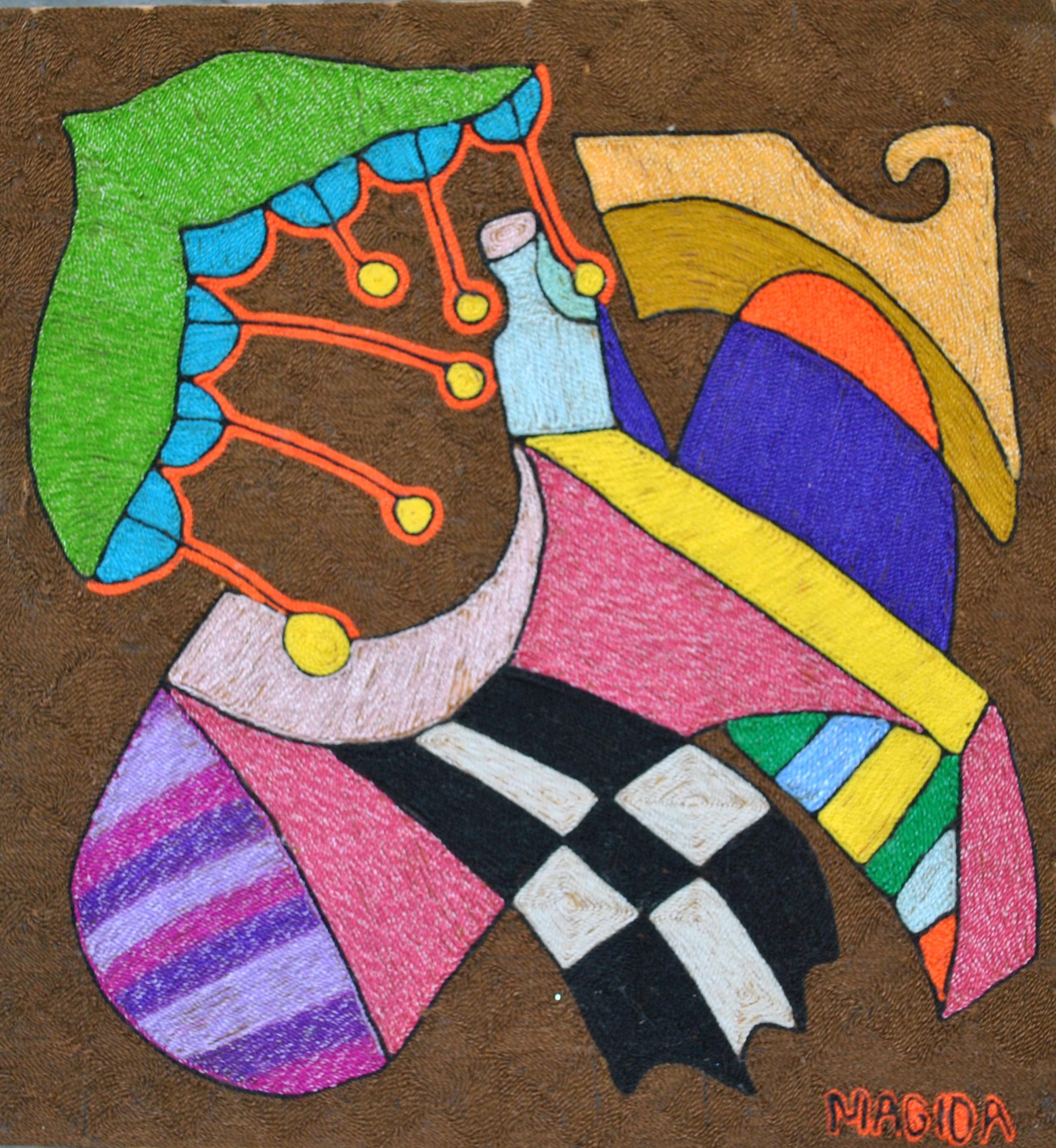 Huichol, yarn. pressed into wax, bees wax, fibers art, Sarah Magida