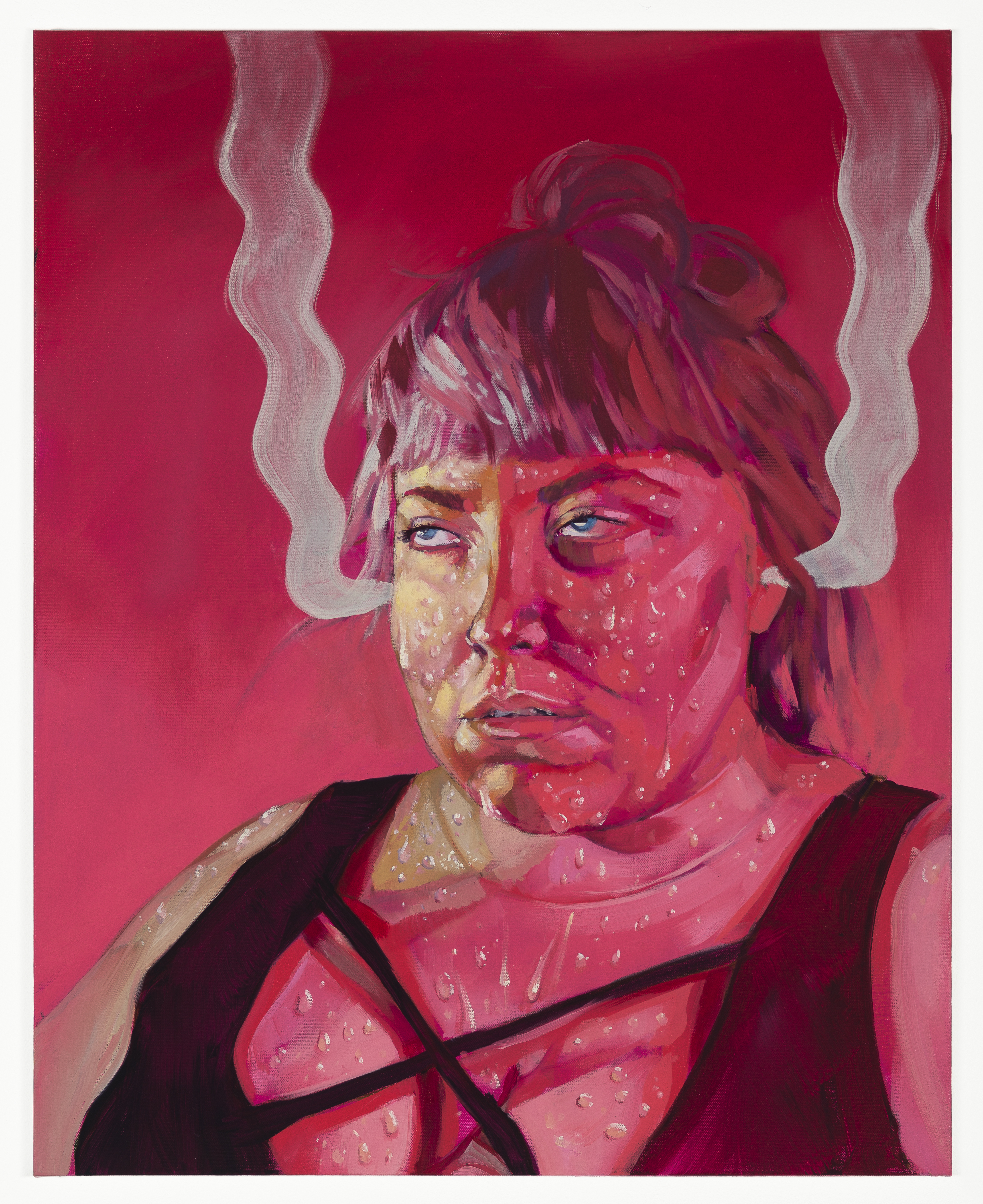 painting, portrait, self portrait, sweat, fumes, steam, pink, figurative painting, color, pattern