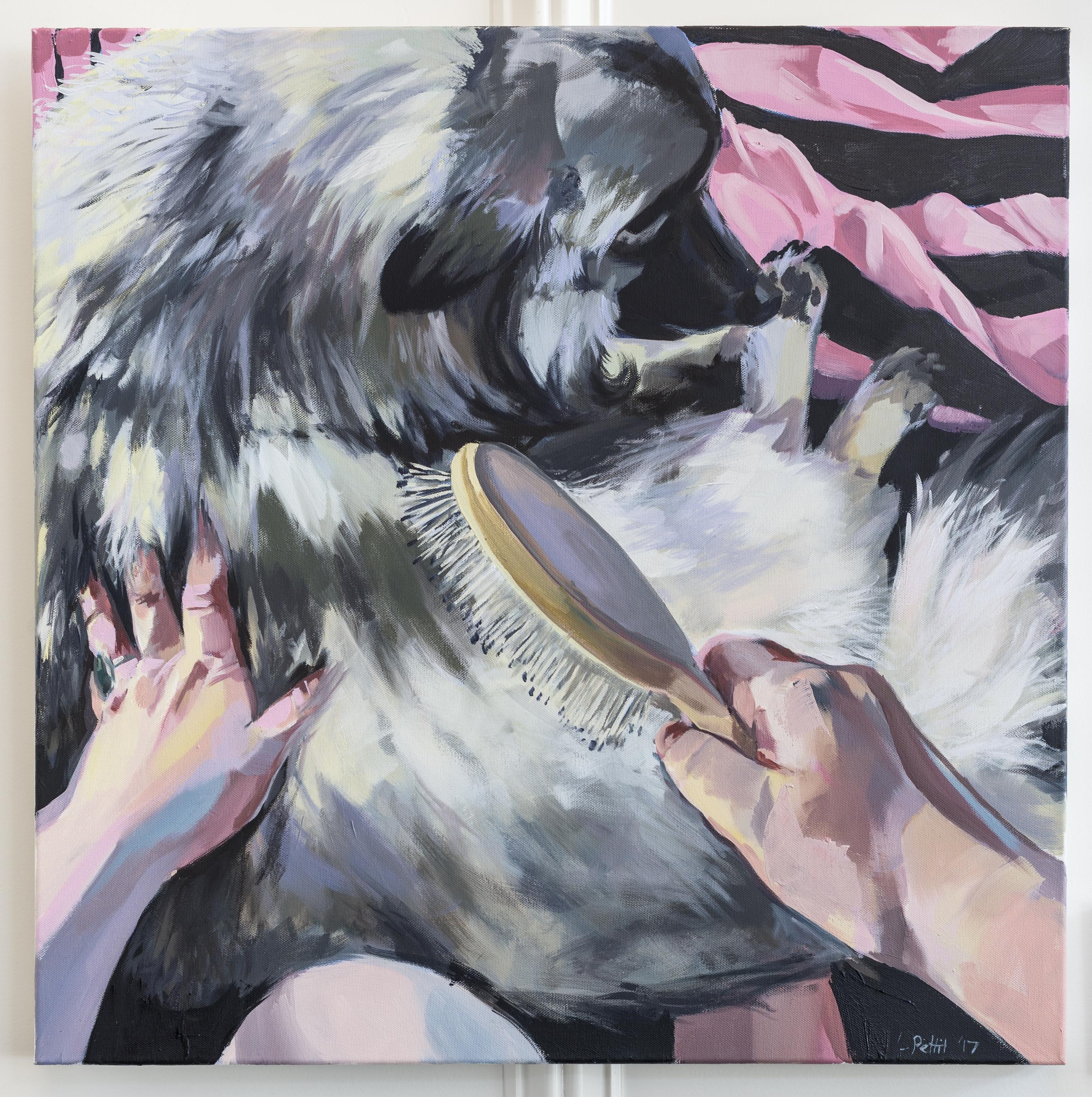 Painting, Portrait, Self Portrait, dog, brushing, animal