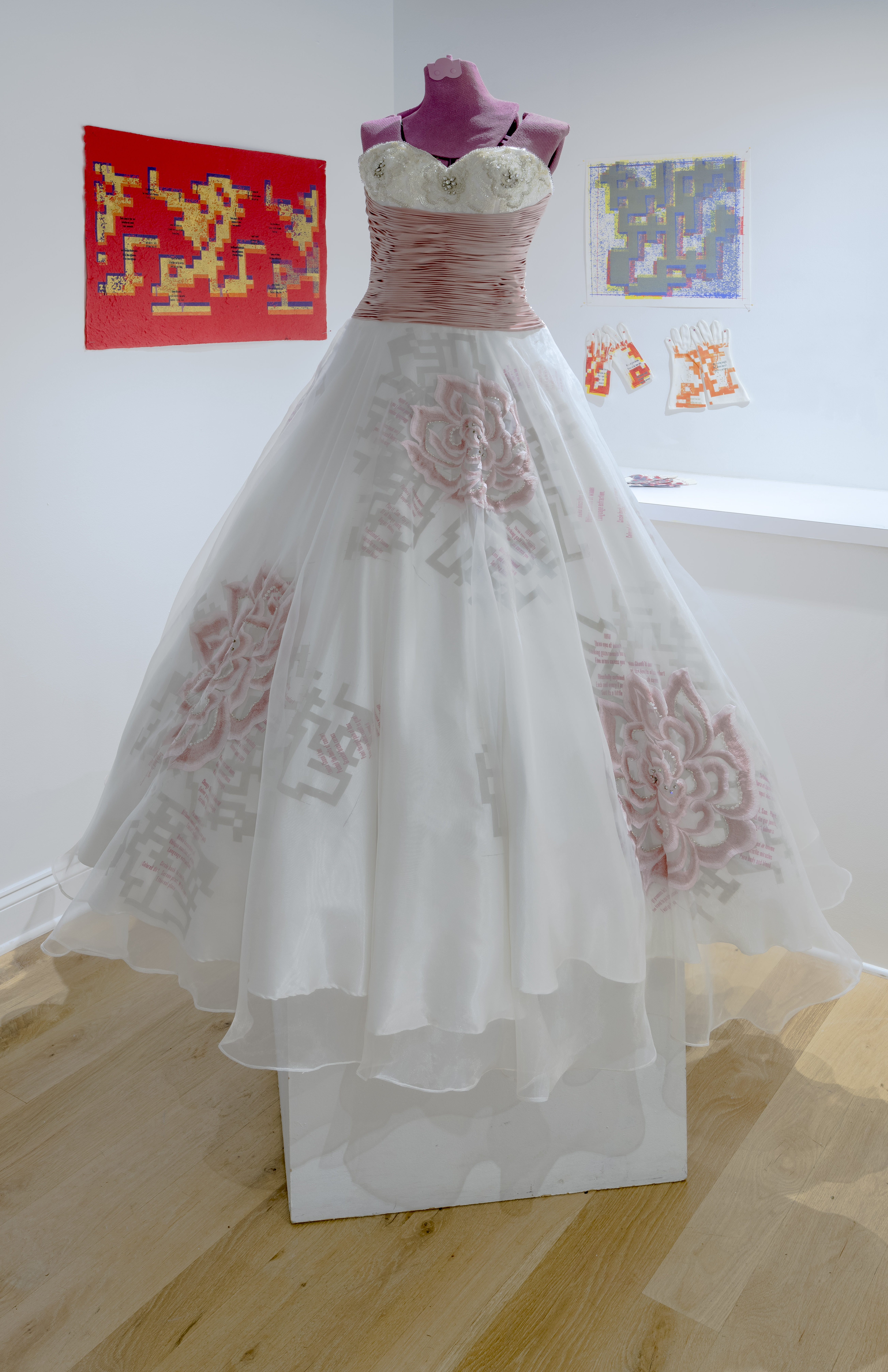 screen print, fashion, wedding dress, repurposed art, Scrabble art