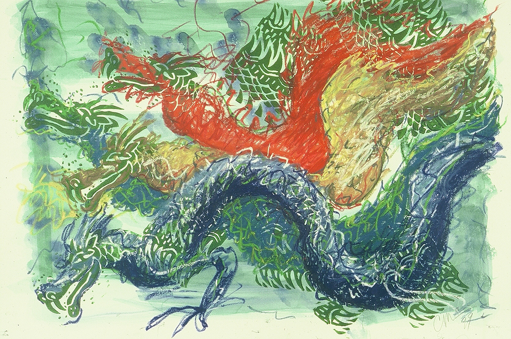 Sea Dragons, linoleum block print art by Carol McGraw