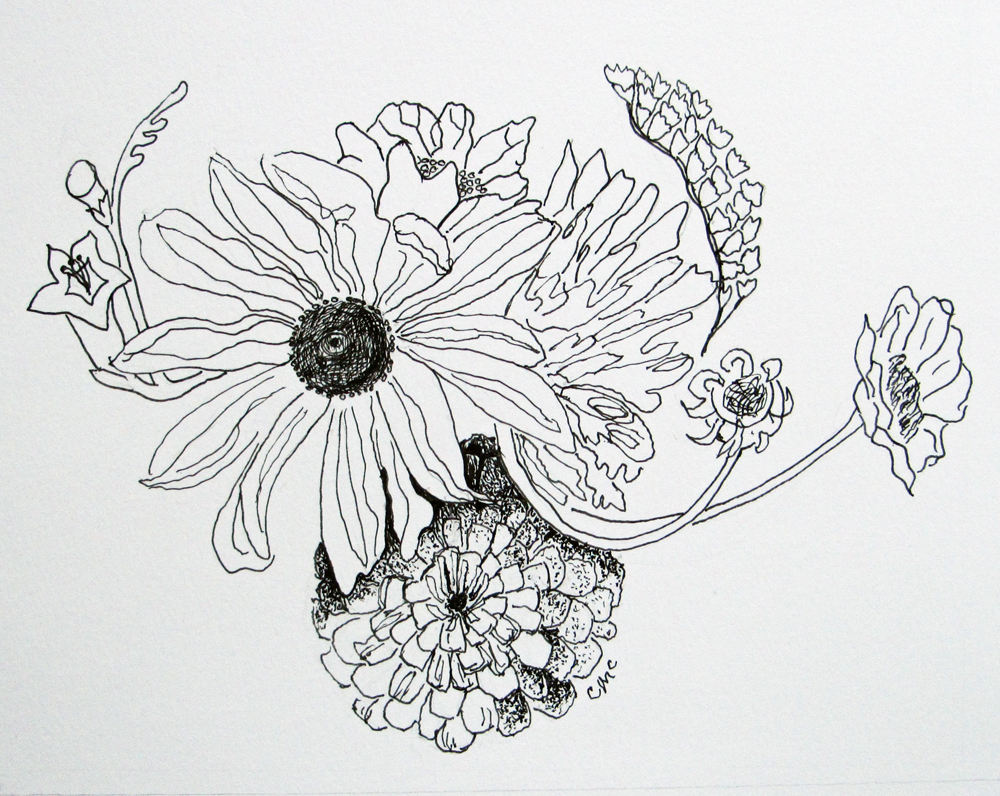 Floral Medallion, drawing by Carol McGraw