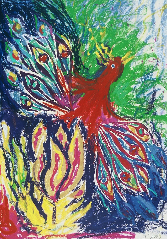 Red Phoenix, linoleum block print art by Carol McGraw