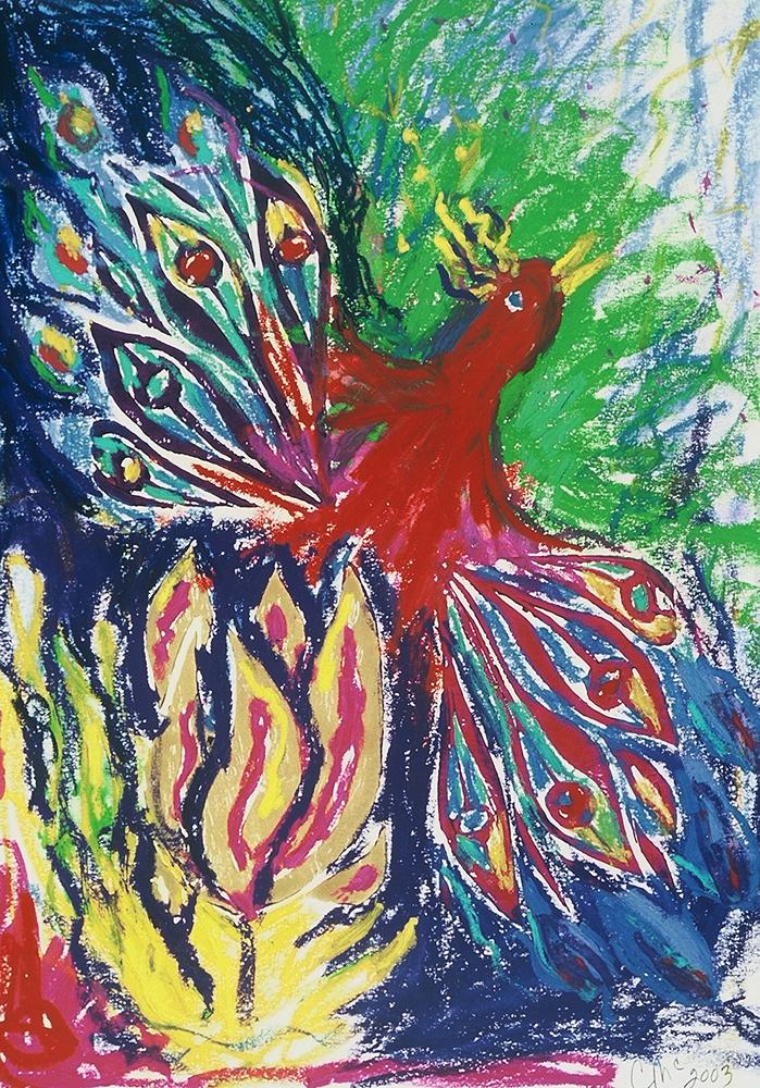 Red Phoenix, linoleum block print art by Carol McGraw