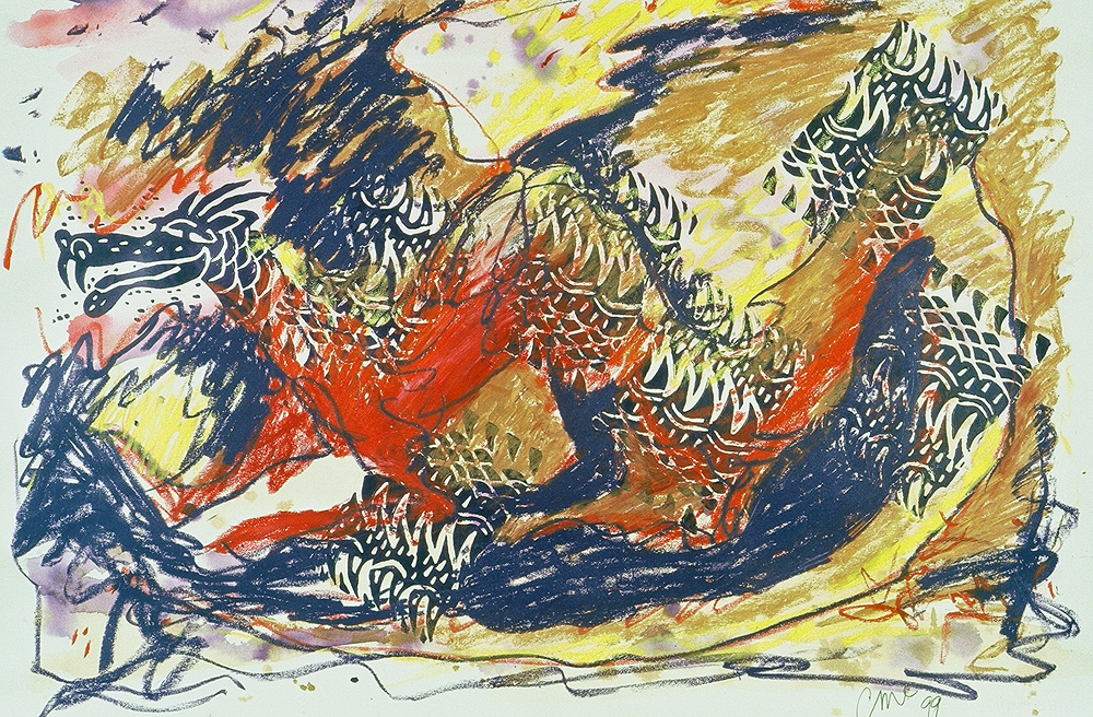 Purple Flame Dragon, linoleum block print art by Carol McGraw